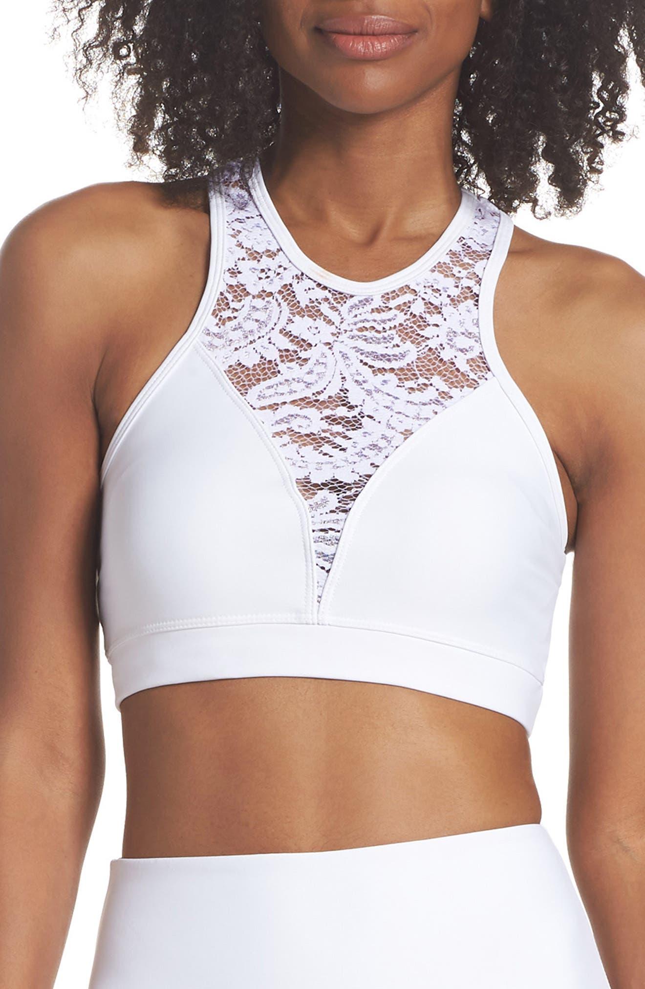 Bridal Sports Bra,                         Main,                         color, White Lace