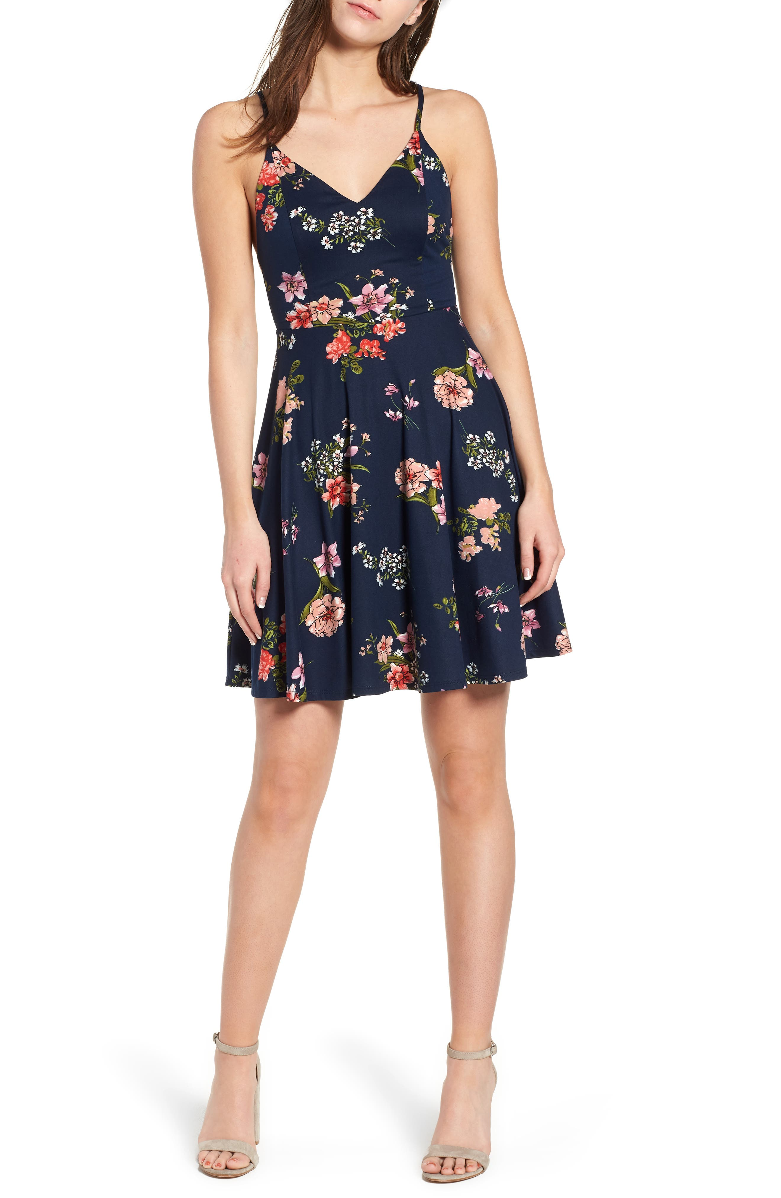 Floral Print Strappy Skater Dress,                         Main,                         color, Navy