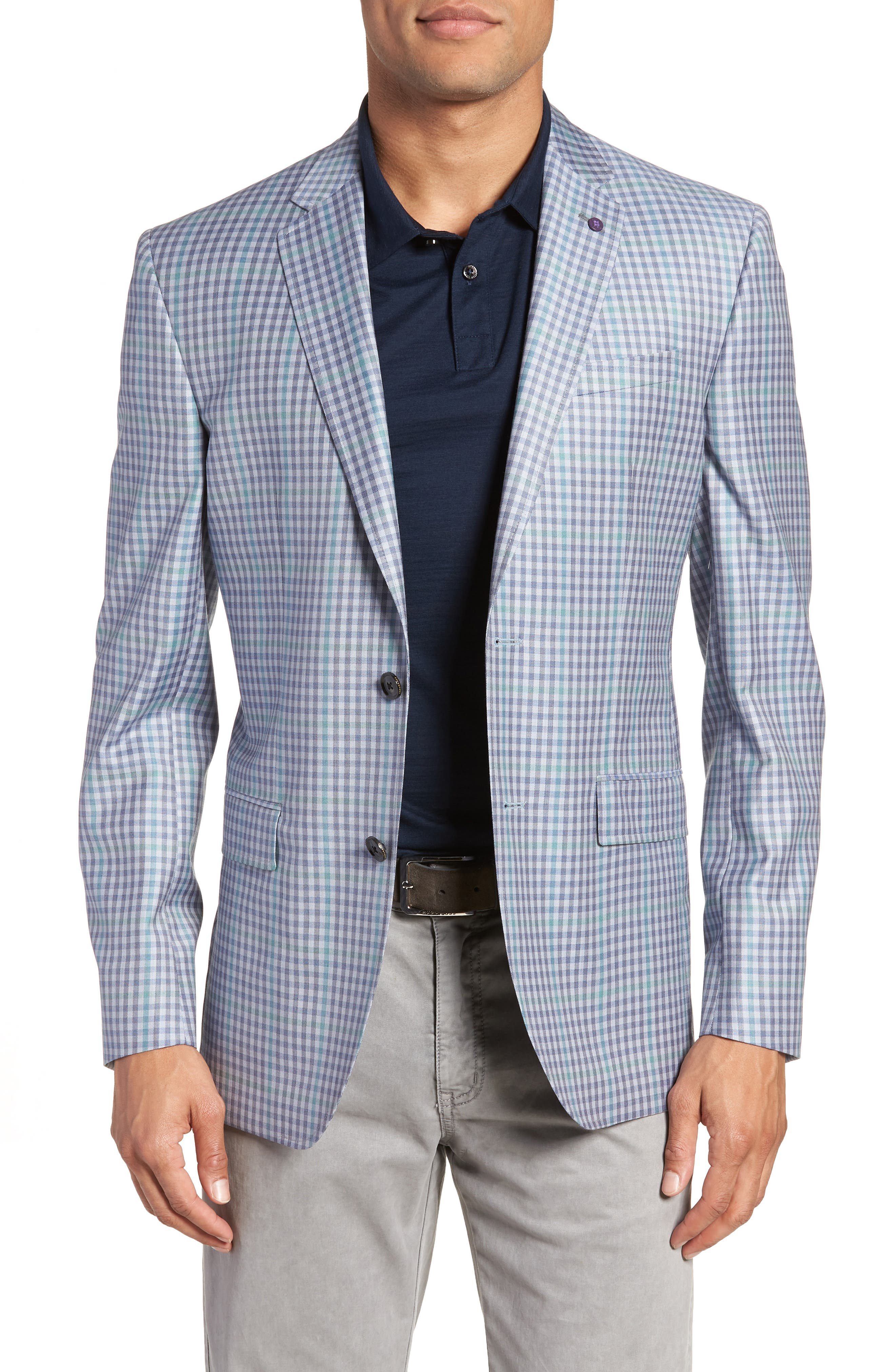 Ted Baker London Jay Trim Fit Gingham Wool Sport Coat