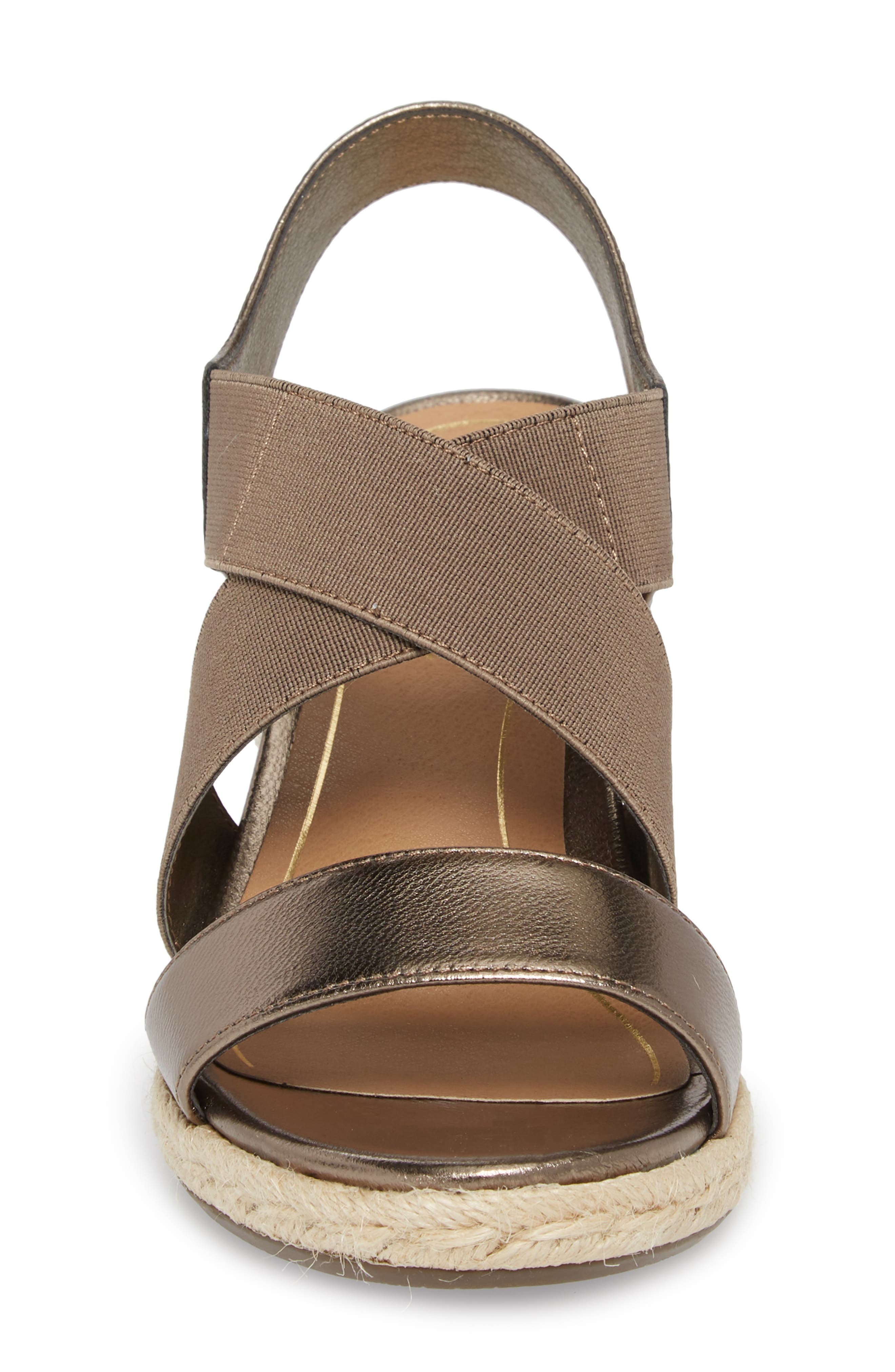 Ainsleigh Wedge Sandal,                             Alternate thumbnail 4, color,                             Dark Taupe Leather