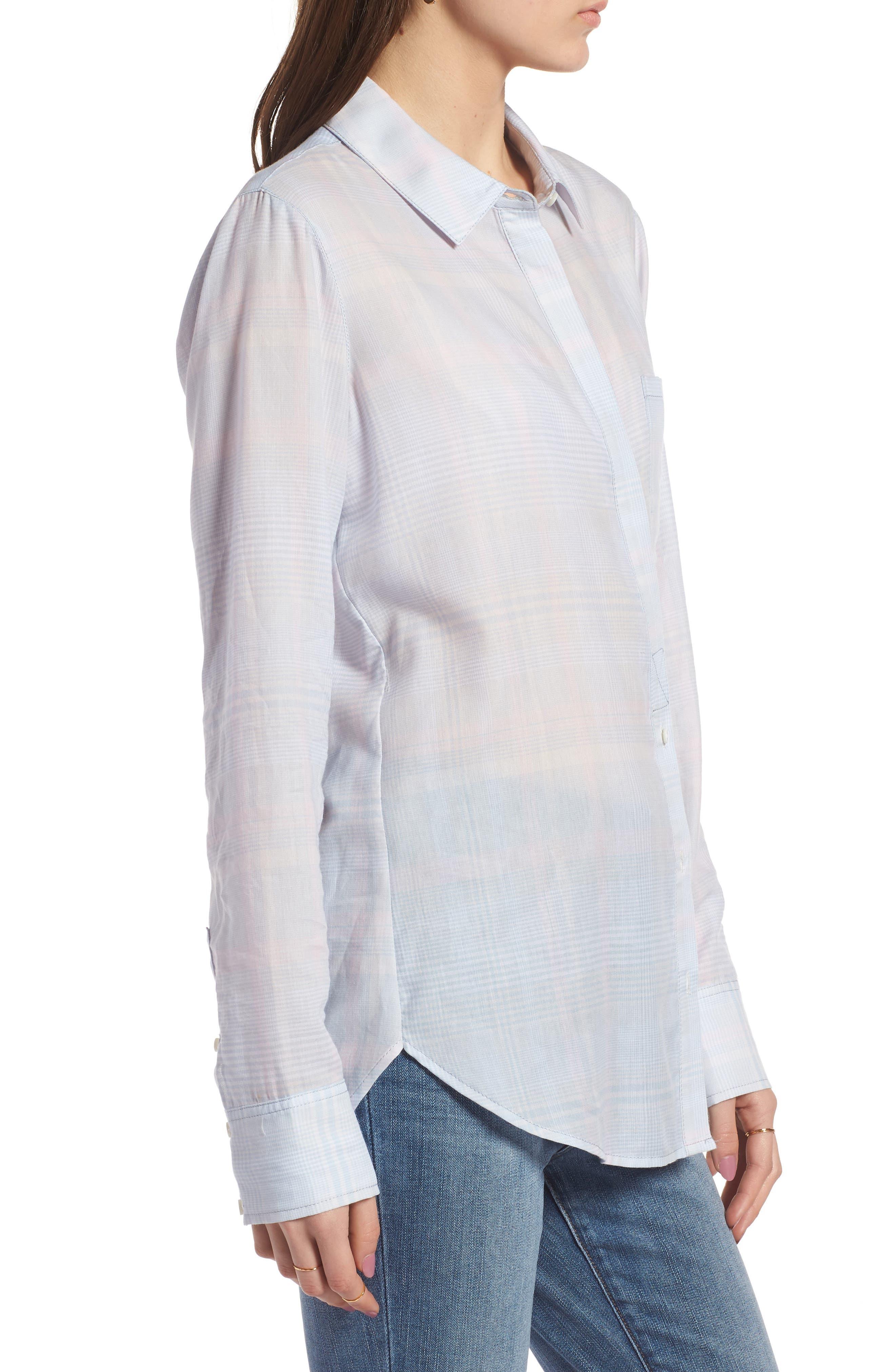 Classic Drapey Shirt,                             Alternate thumbnail 3, color,                             White Mini Glen