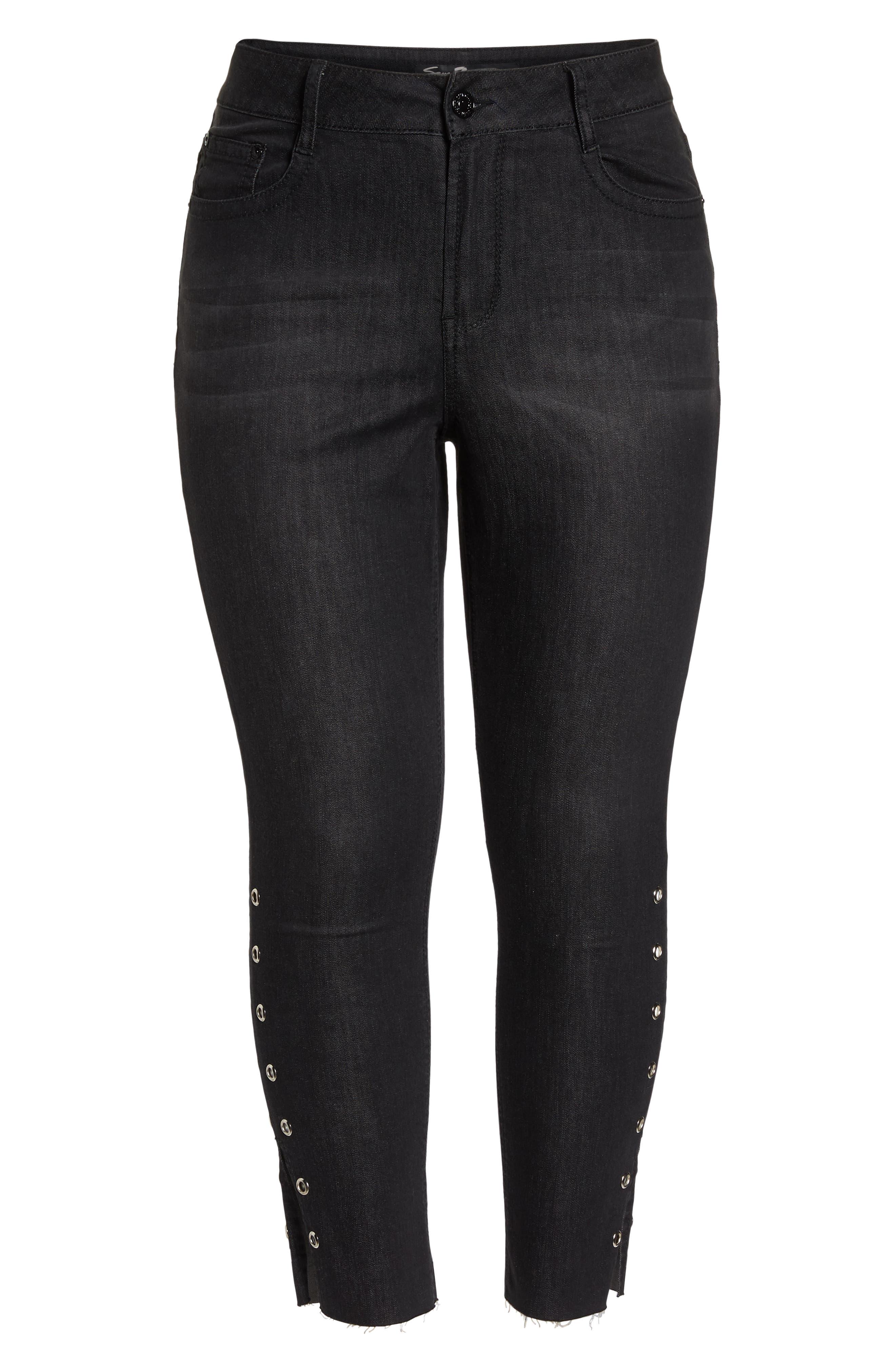 Grommet Slit Hem Ankle Skinny Jeans,                             Alternate thumbnail 7, color,                             Black