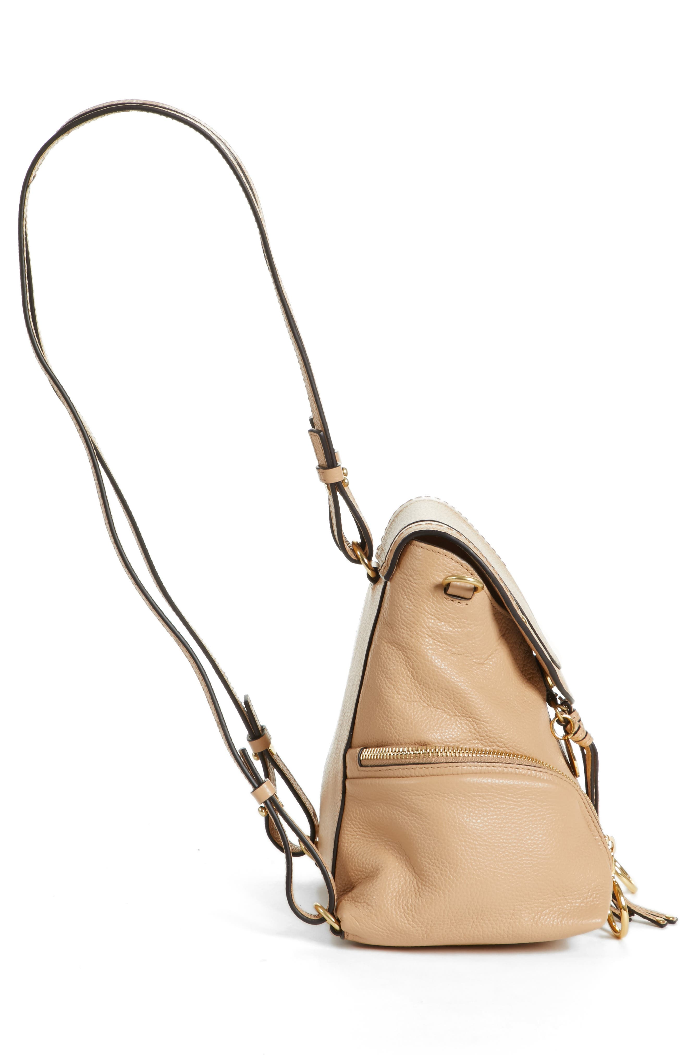 Small Olga Leather Backpack,                             Alternate thumbnail 5, color,                             Blush Nude