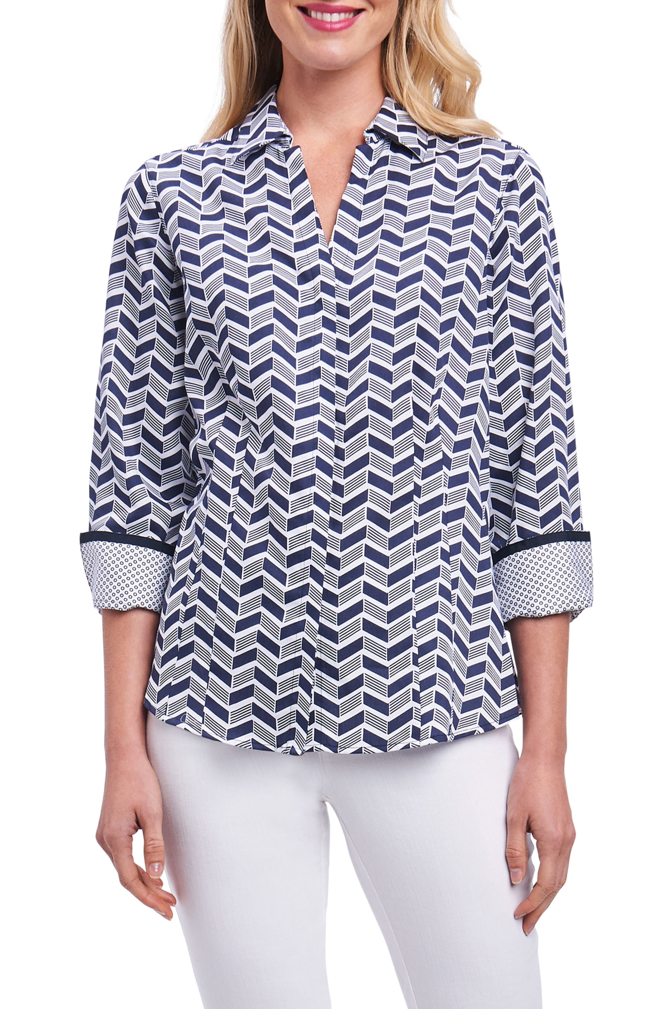 Foxcroft Taylor Chevron Non Iron Cotton Shirt (Regular & Petite)
