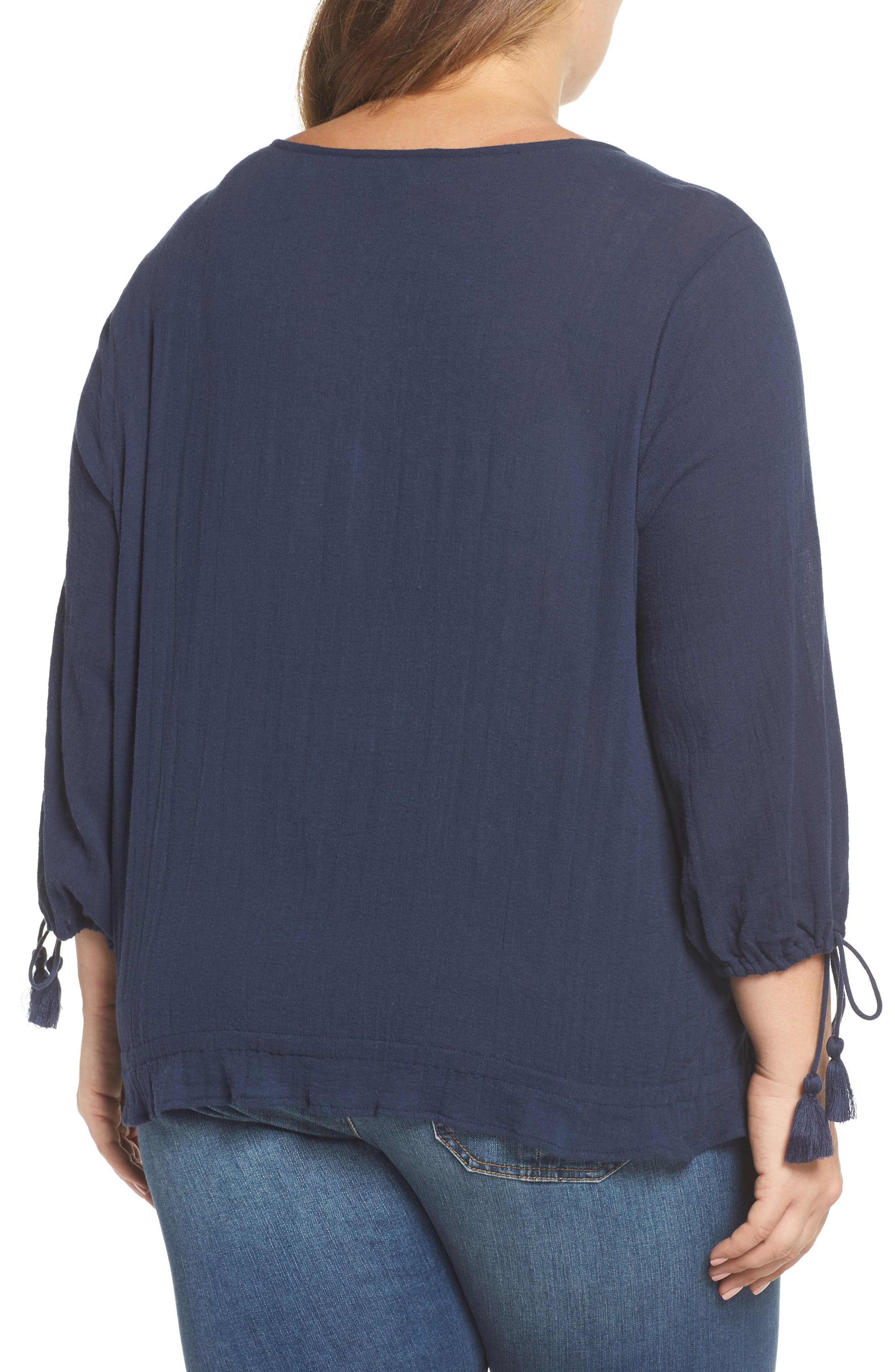 Embroidered Tassel Top,                             Alternate thumbnail 2, color,                             American Navy