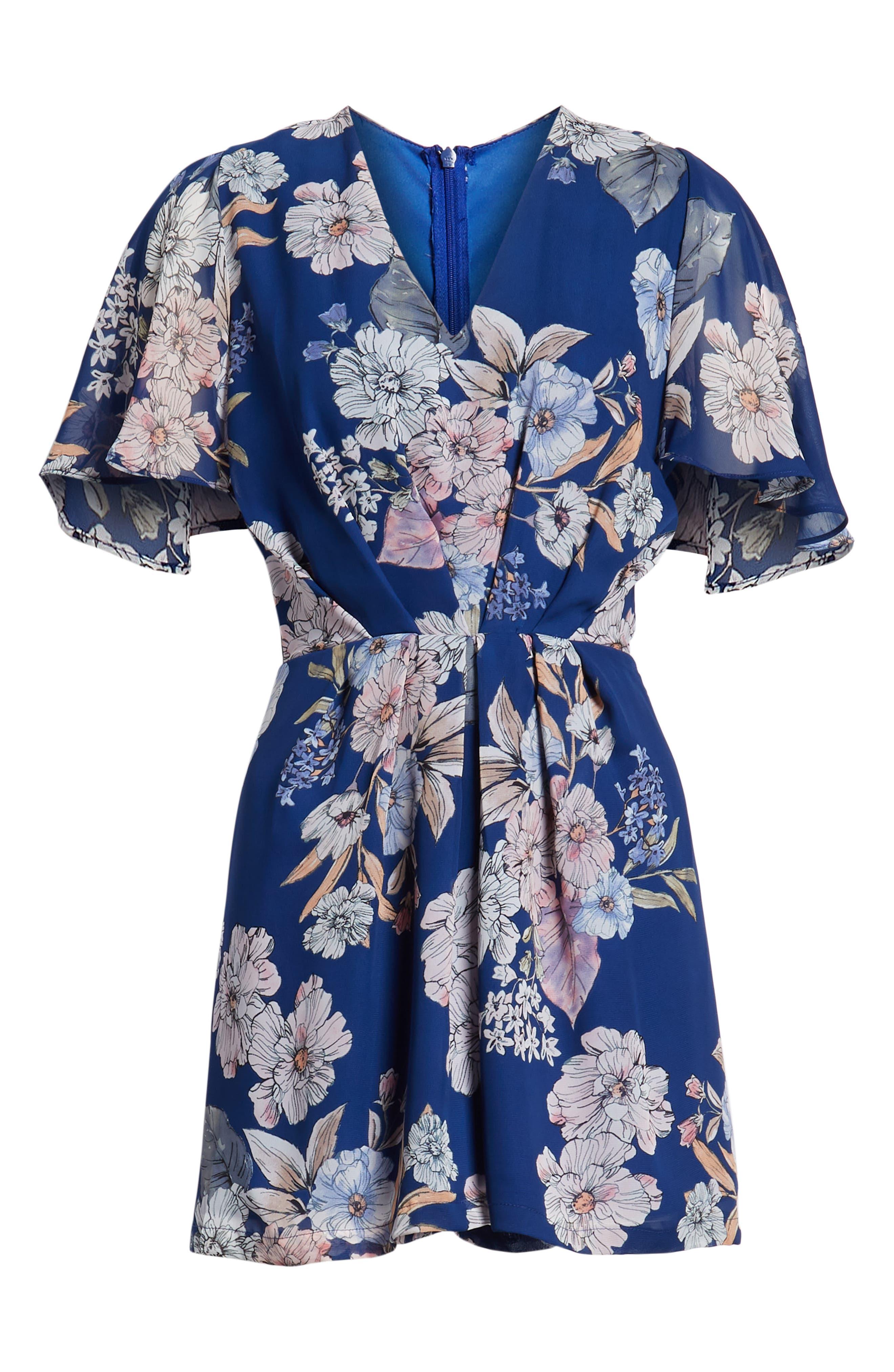 Starlet Romper,                             Alternate thumbnail 6, color,                             Blue Floral