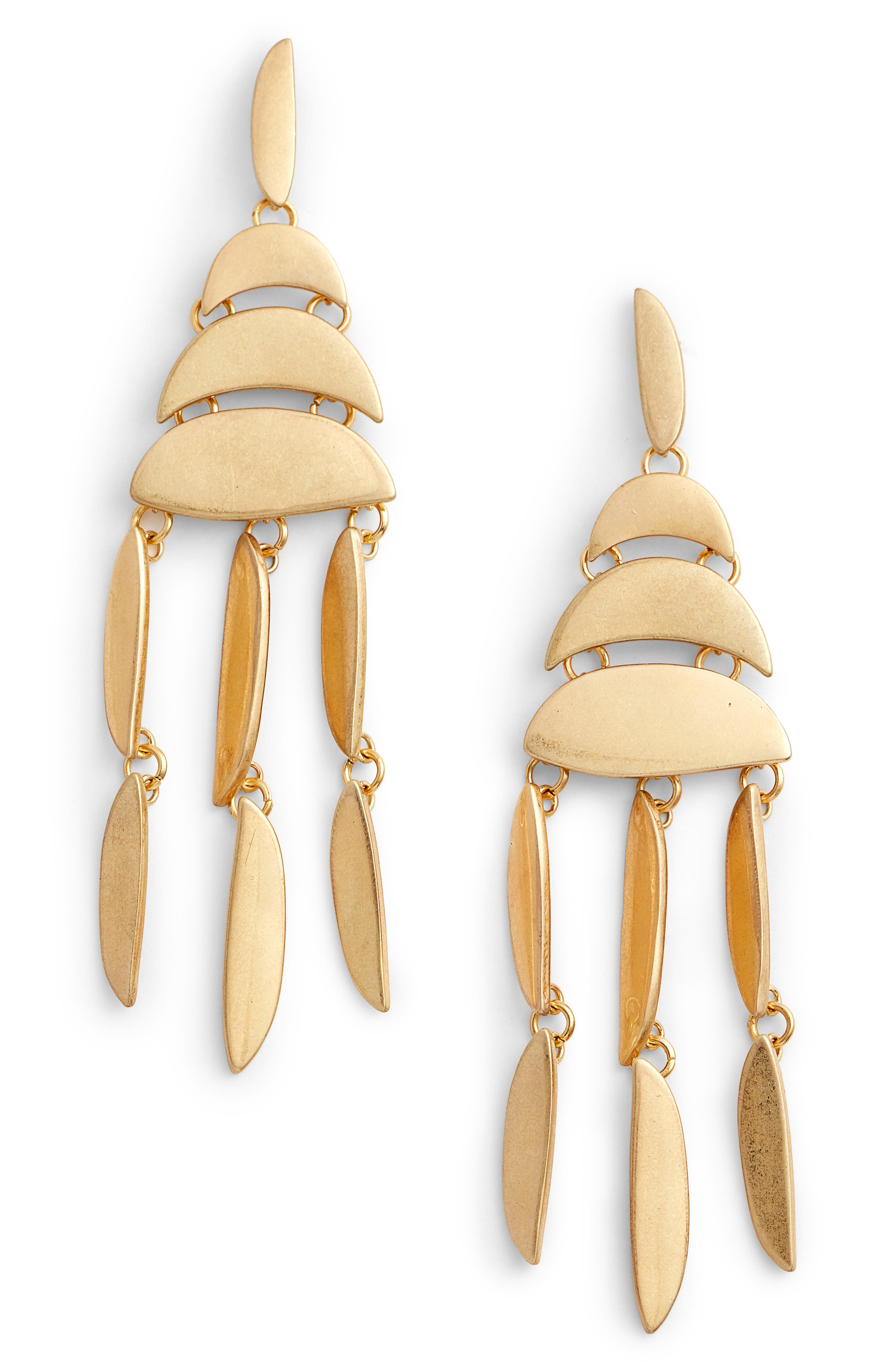 Sadie Stacked Disc Drop Earrings,                             Main thumbnail 1, color,                             Gold