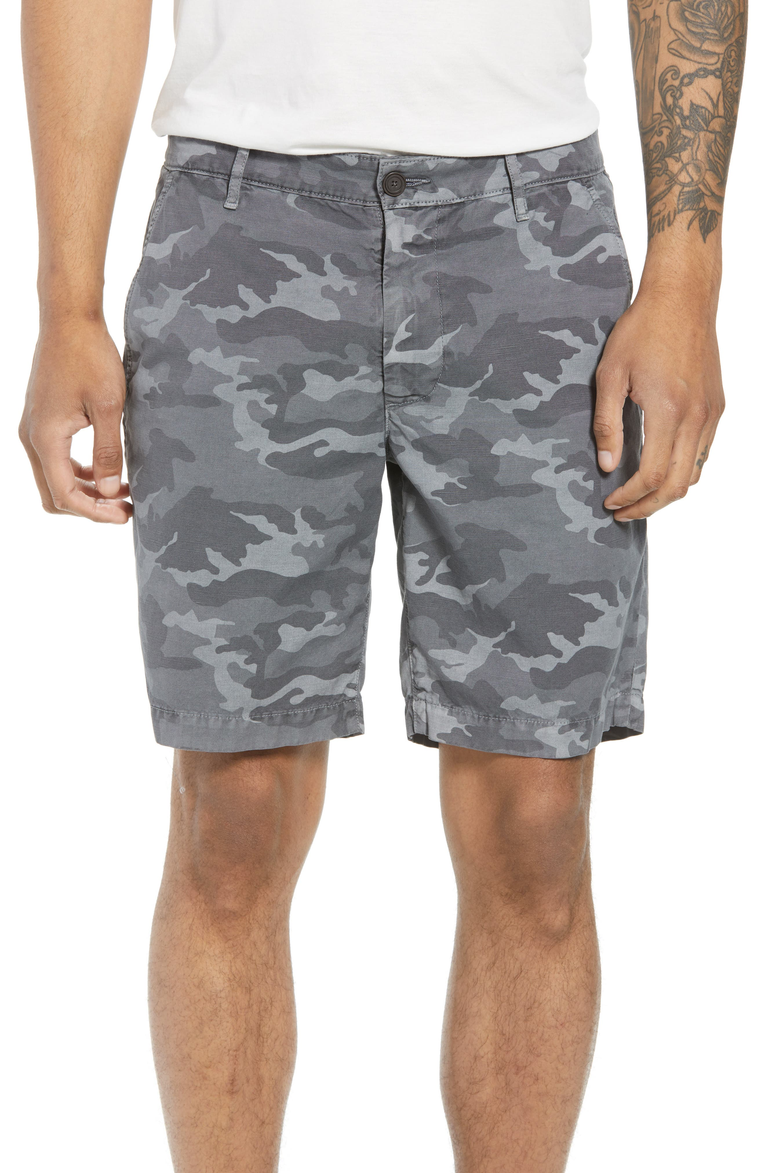 Wanderer Slim Fit Cotton & Linen Shorts,                         Main,                         color, Camo Smoke Grey