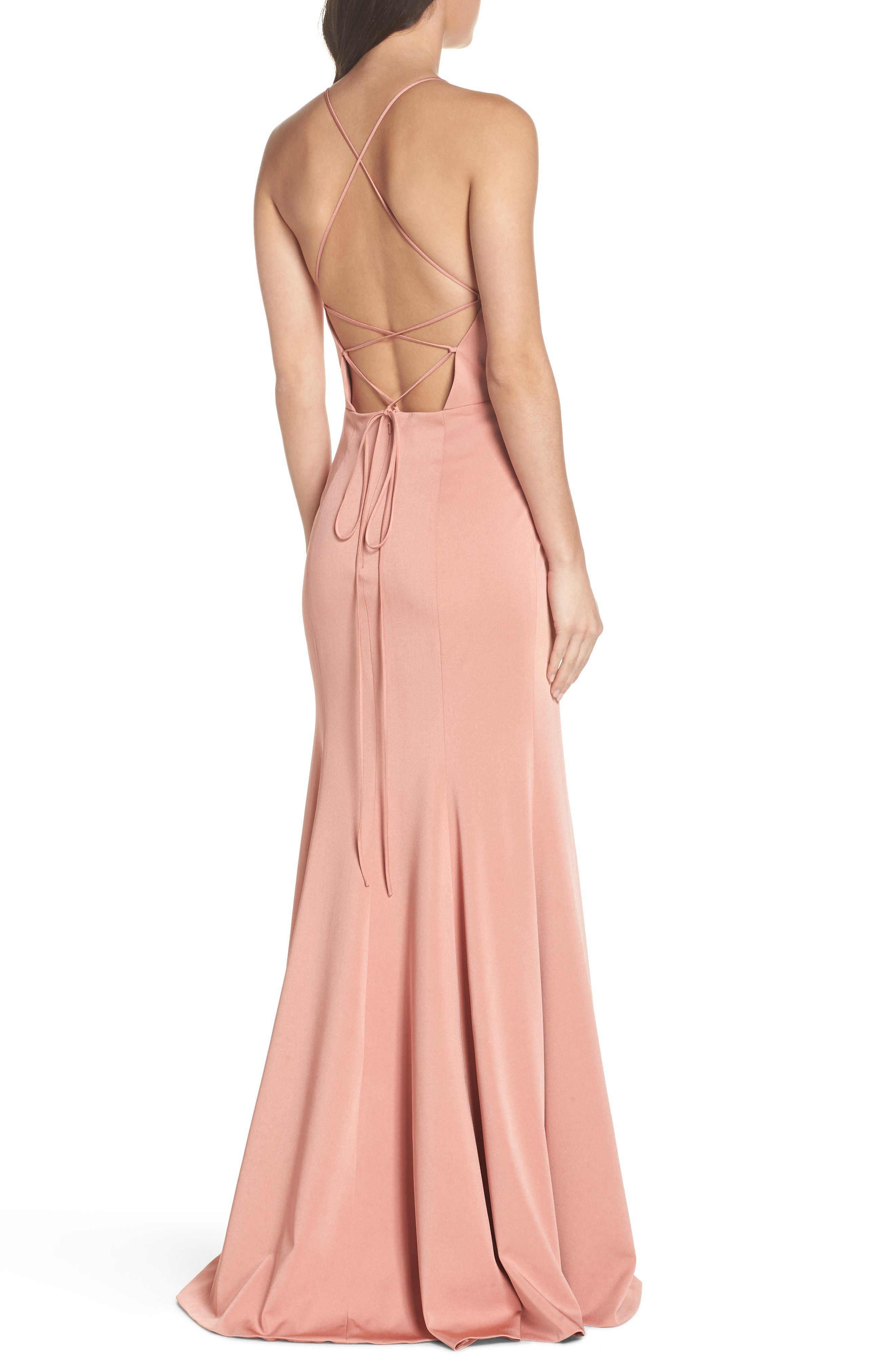 Naomi Luxe Crepe Halter Gown,                             Alternate thumbnail 2, color,                             Sedona Sunset