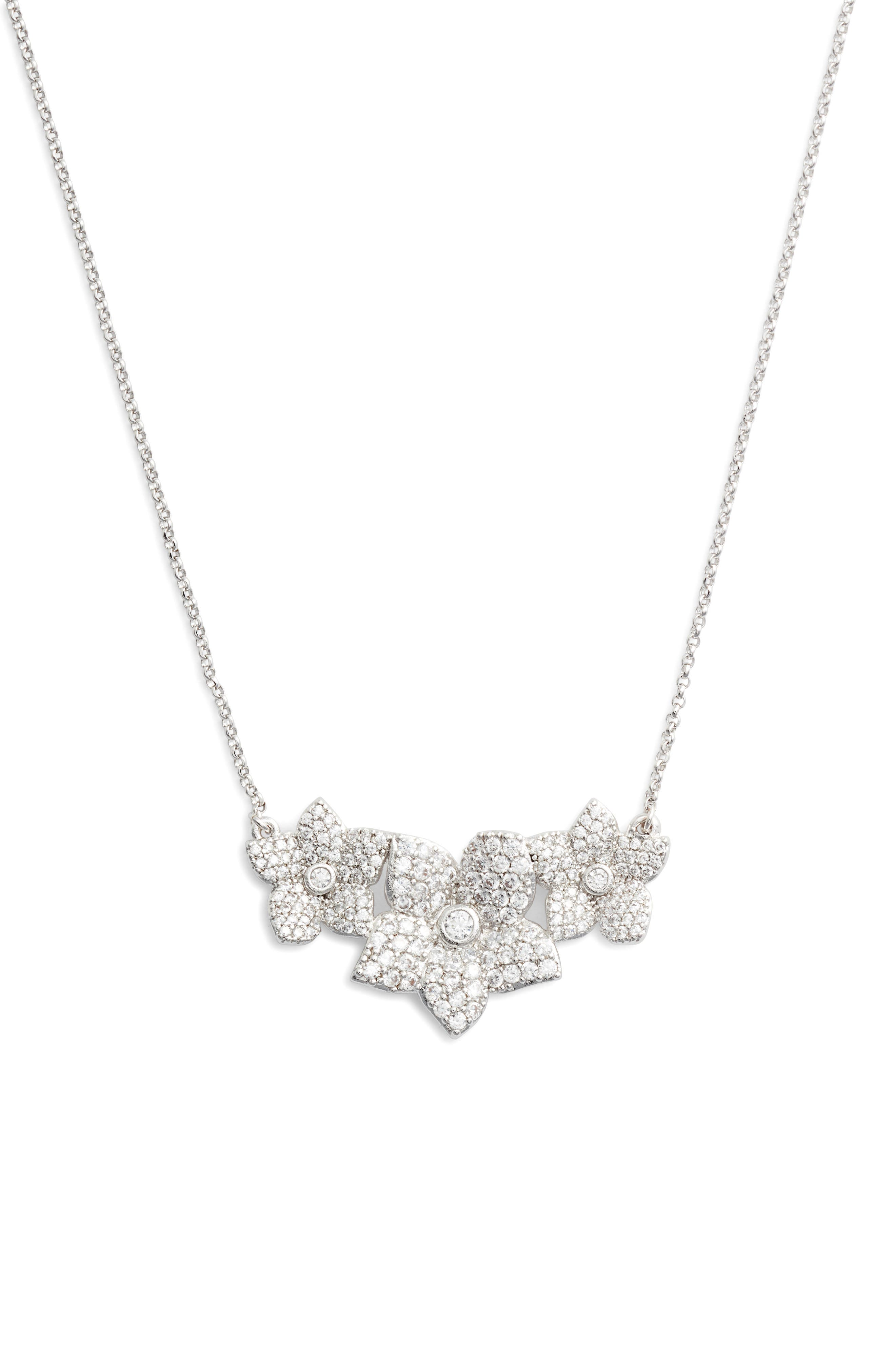 blooming pavé pendant necklace,                         Main,                         color, Clear/ Silver