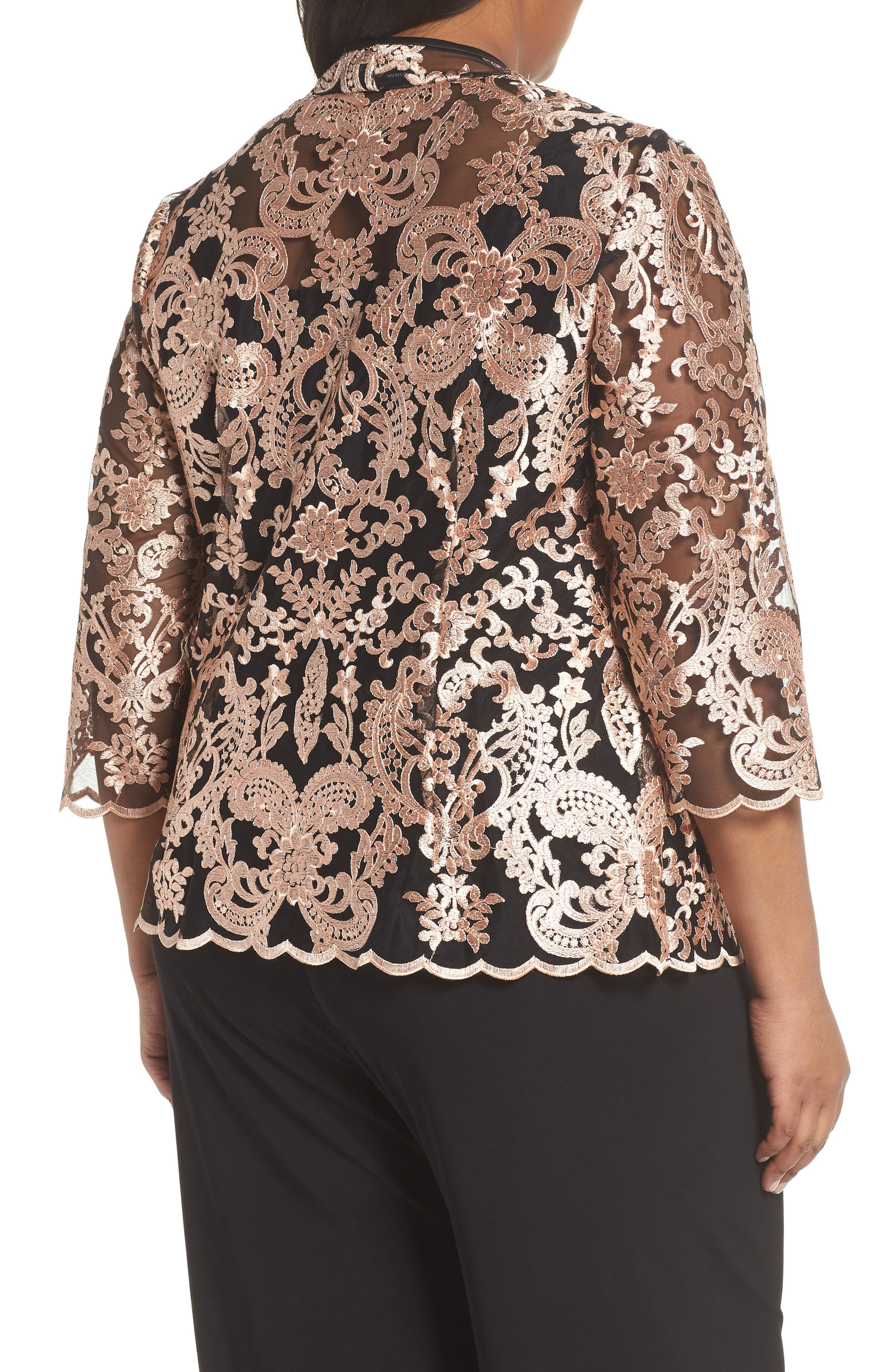 Top & Embroidered Jacket,                             Alternate thumbnail 2, color,                             Black/ Coral