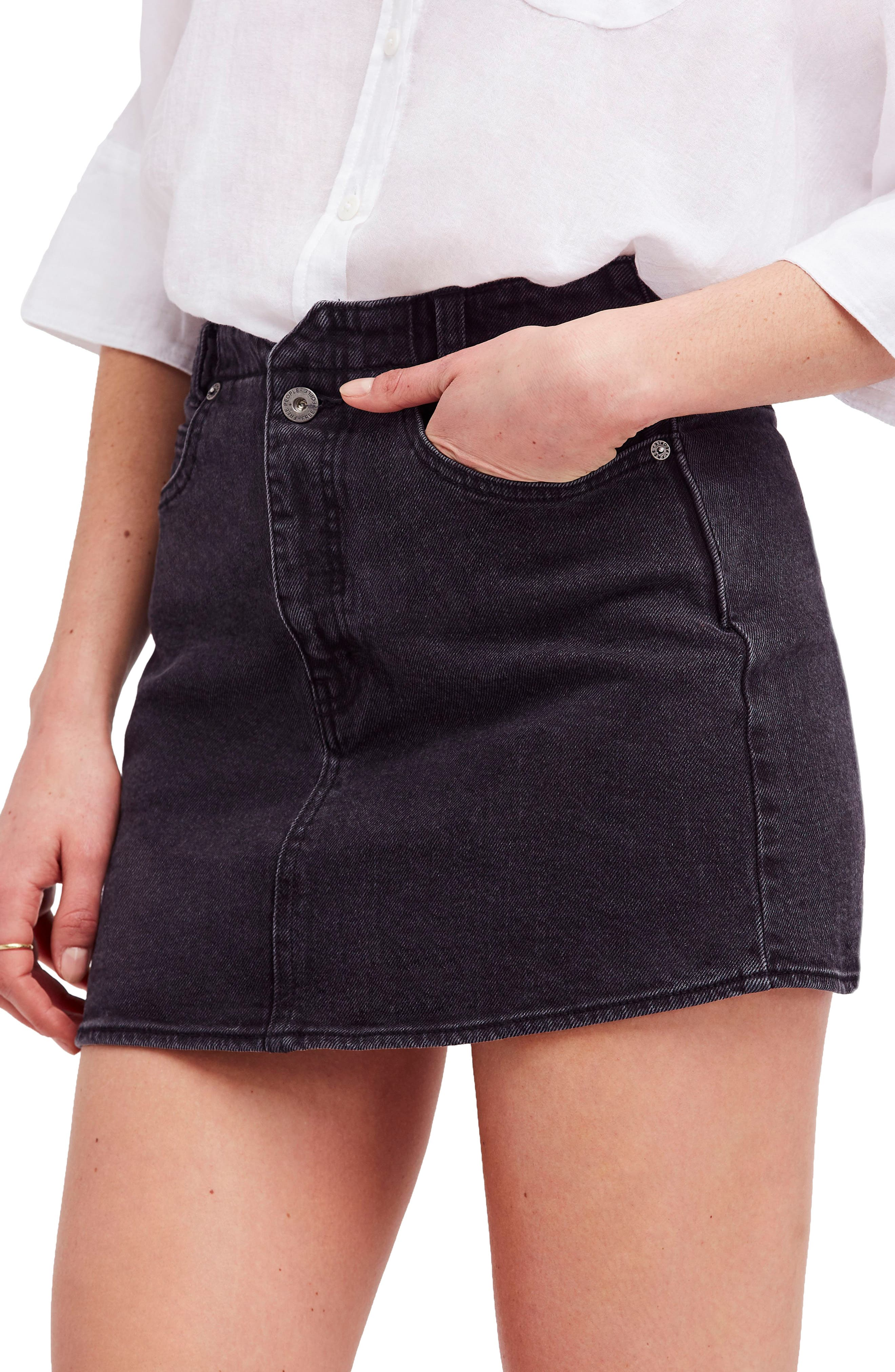 She's All That Denim Miniskirt,                             Main thumbnail 1, color,                             Black