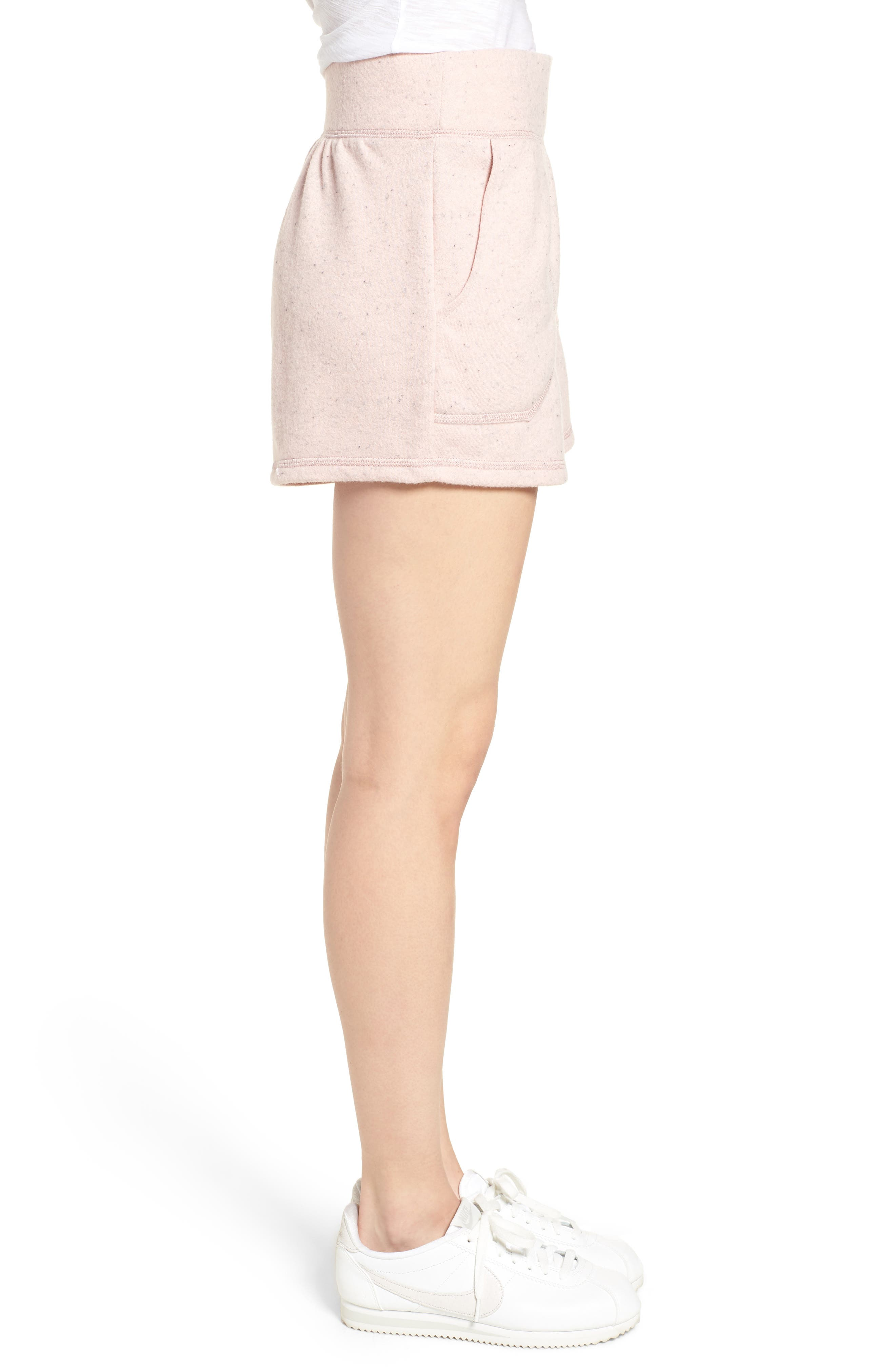 Off-Duty French Terry Shorts,                             Alternate thumbnail 3, color,                             Pink Smoke