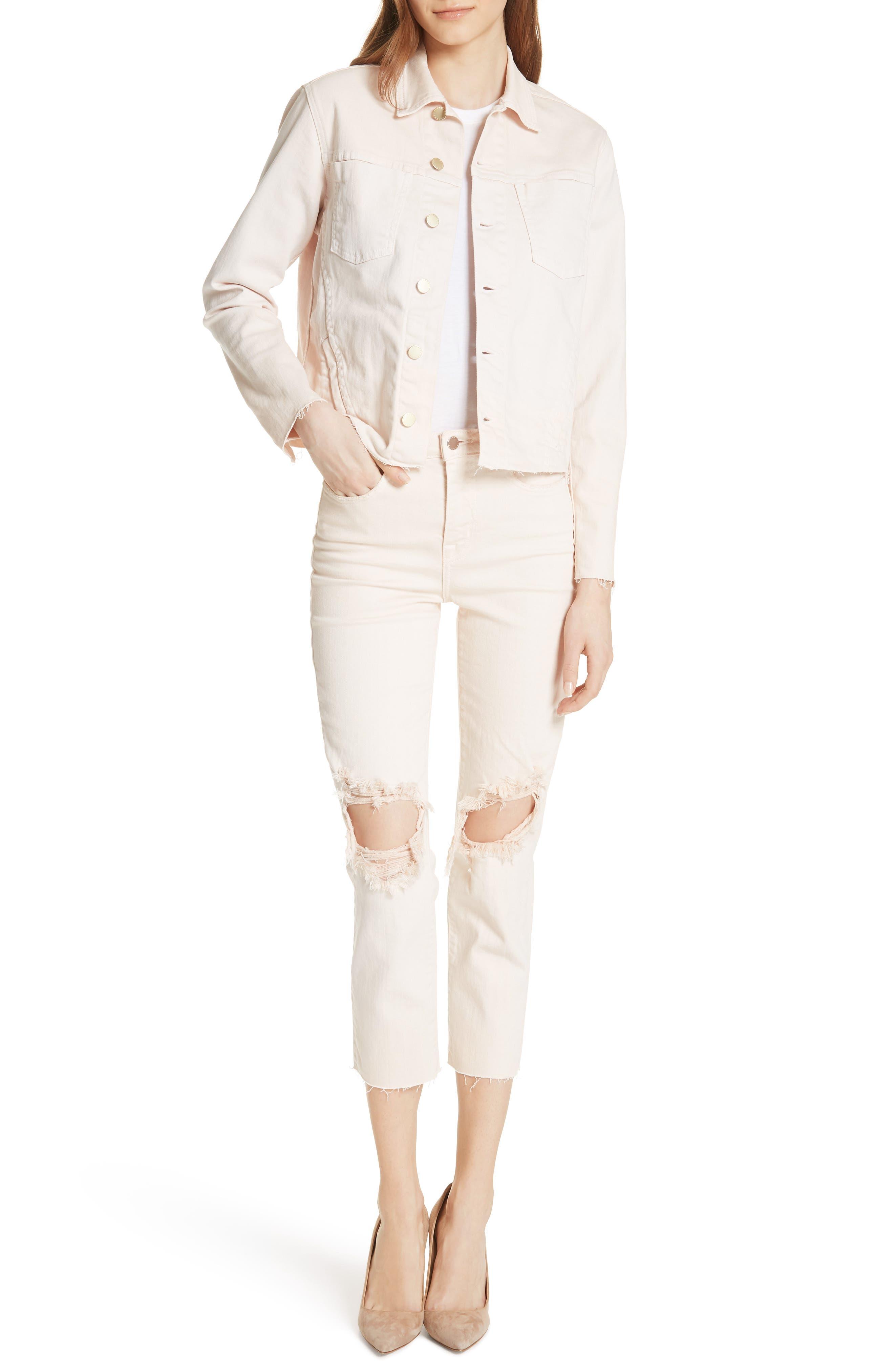 Audrina Ripped Straight Leg Crop Jeans,                             Alternate thumbnail 7, color,                             Quartz Worn Destruct