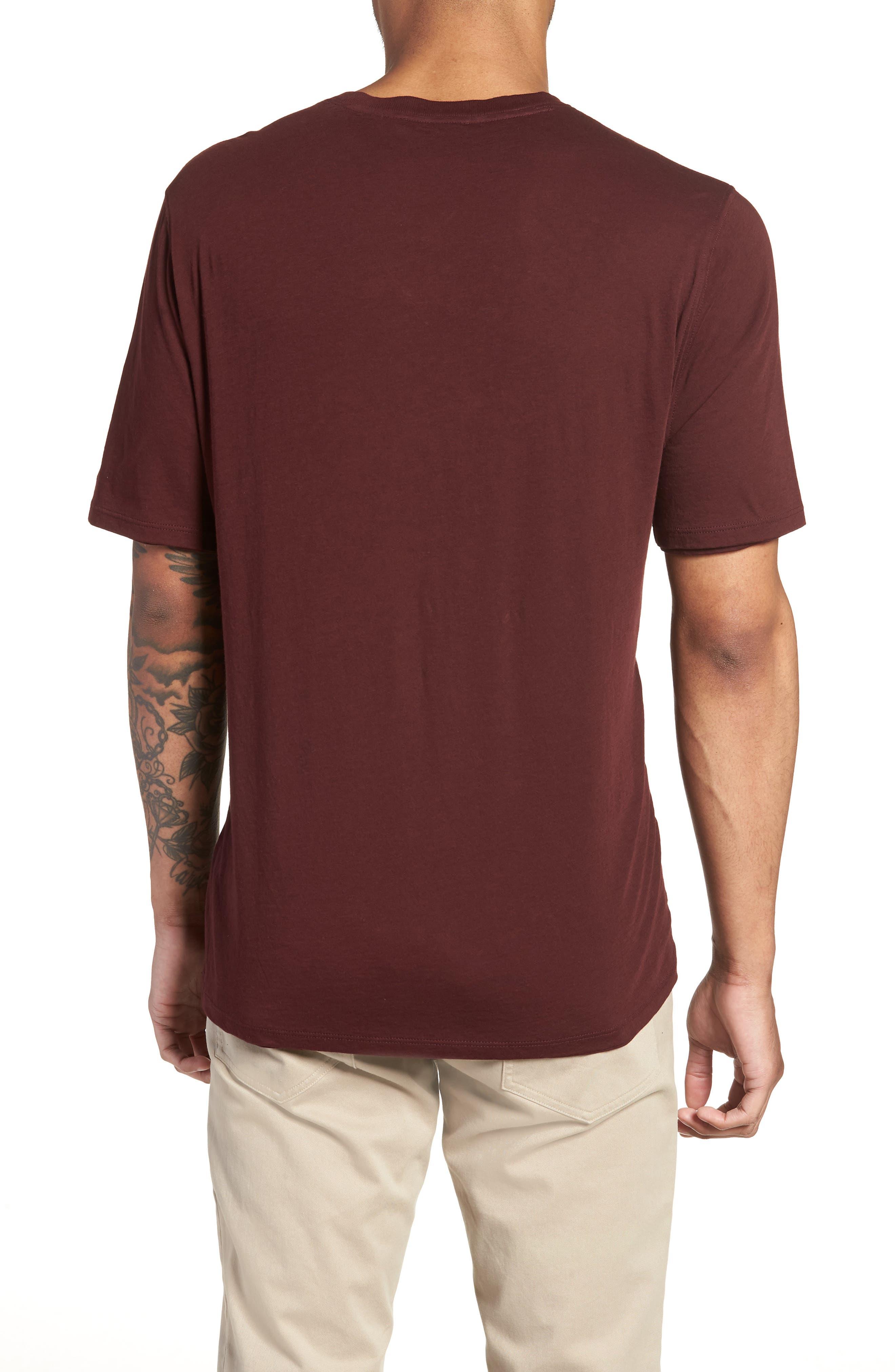 Layered Henley T-Shirt,                             Alternate thumbnail 2, color,                             Black Cherry