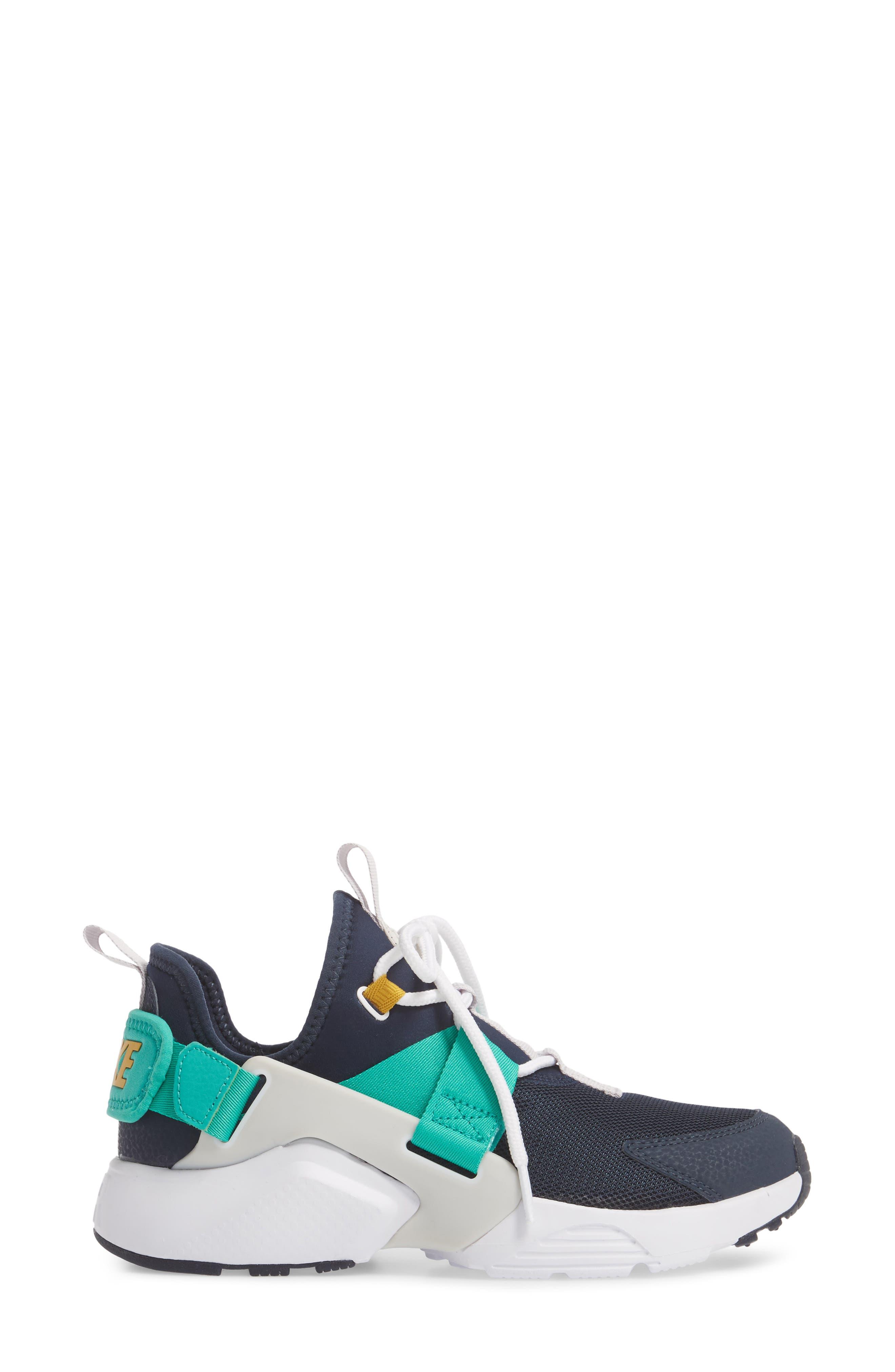 Air Huarache City Low Sneaker,                             Alternate thumbnail 3, color,                             Obsidian/ White/ Grey/ Green