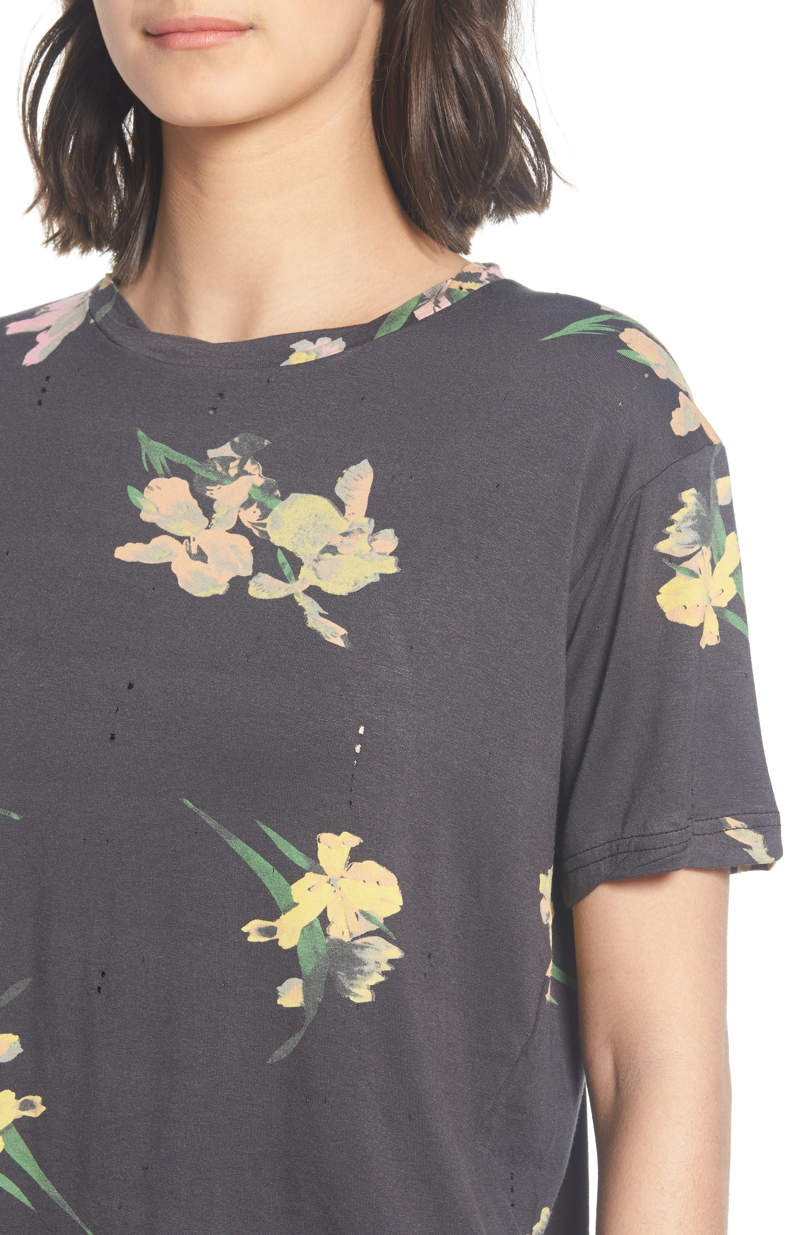 Floral Print Distressed Tee,                             Alternate thumbnail 4, color,                             Black Ground Floral
