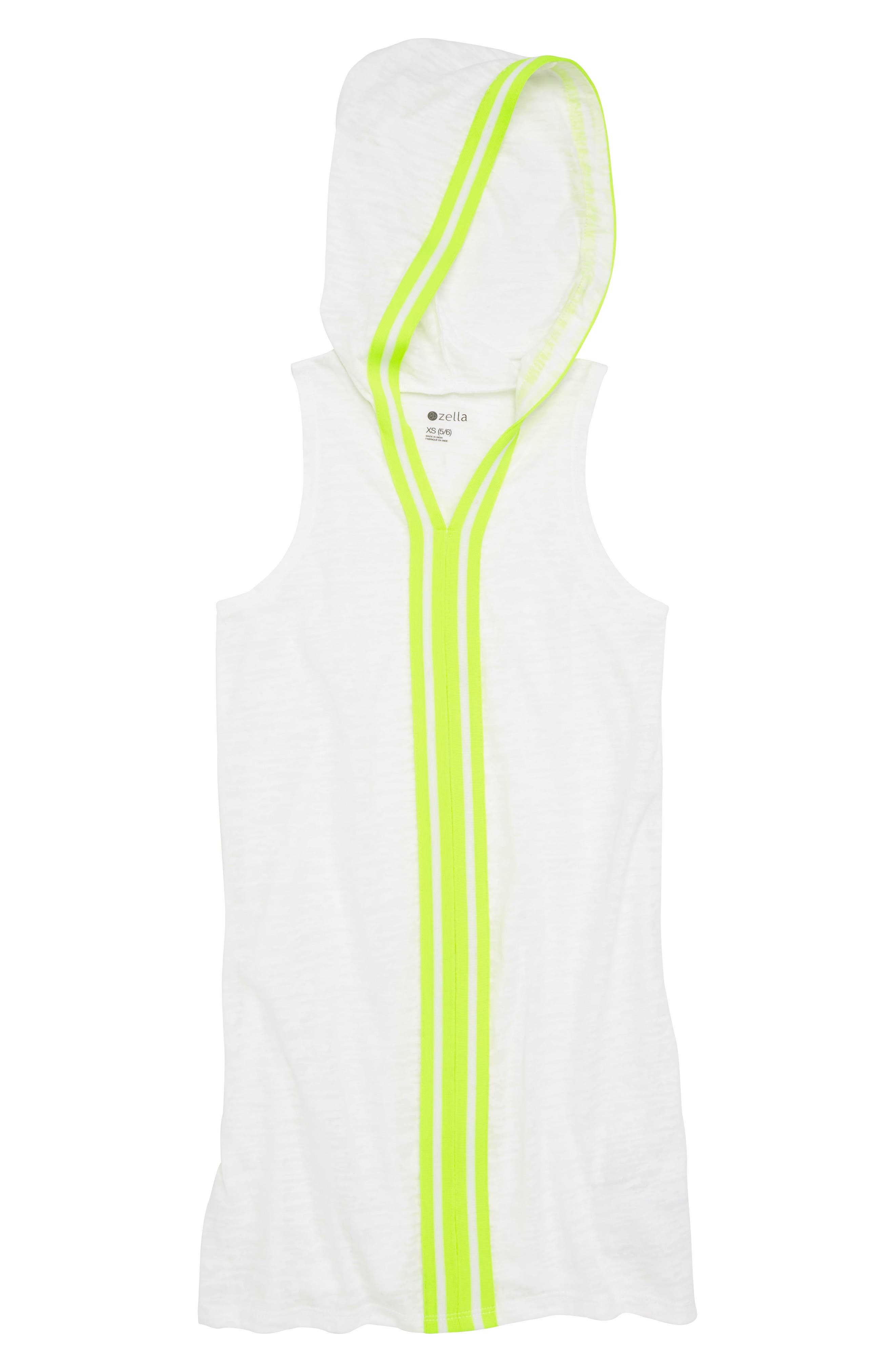 Zella Neon Hooded Cover-Up Dress,                             Main thumbnail 1, color,                             White