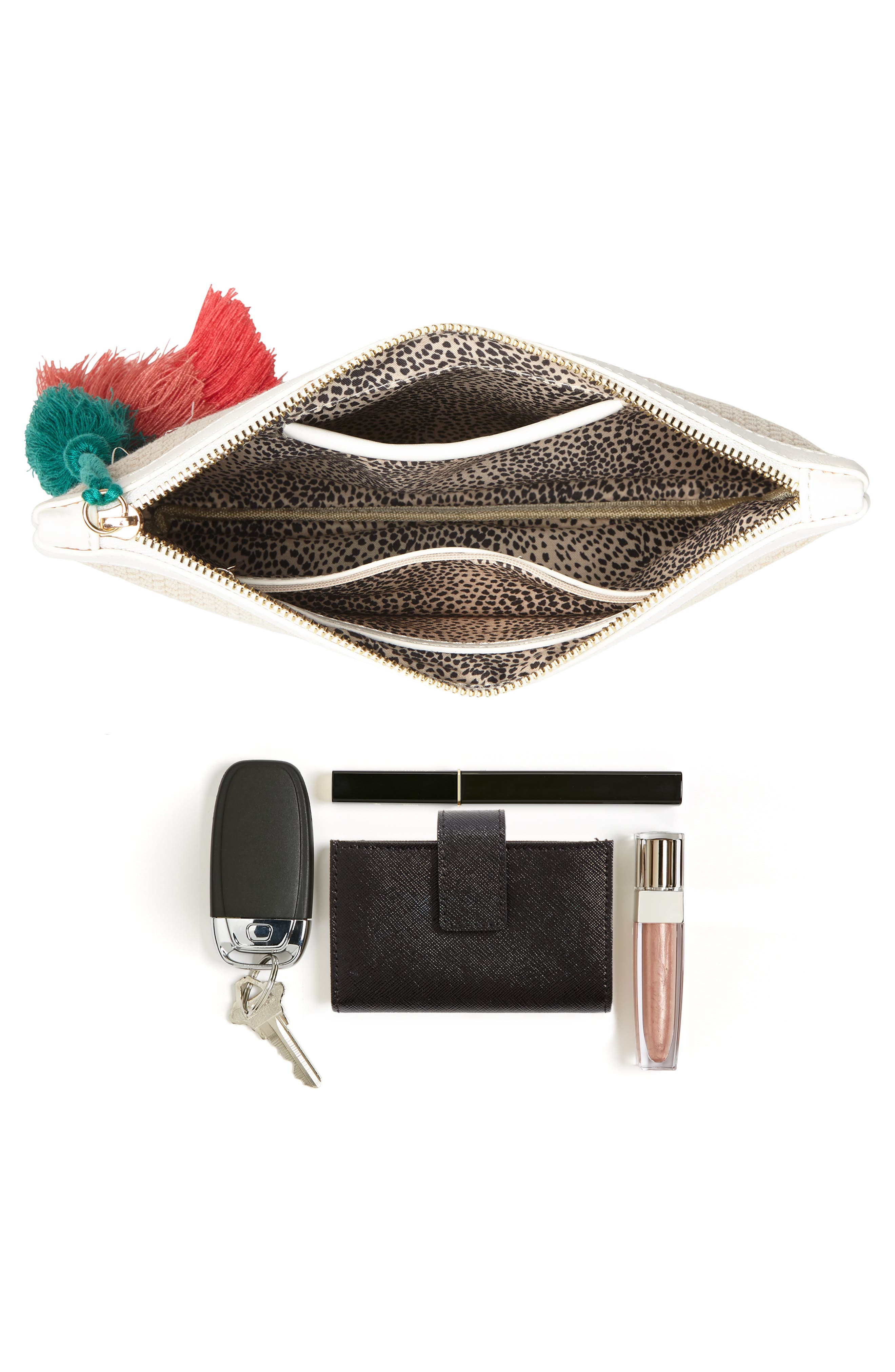 Tasseled Fabric Zip Pouch,                             Alternate thumbnail 7, color,