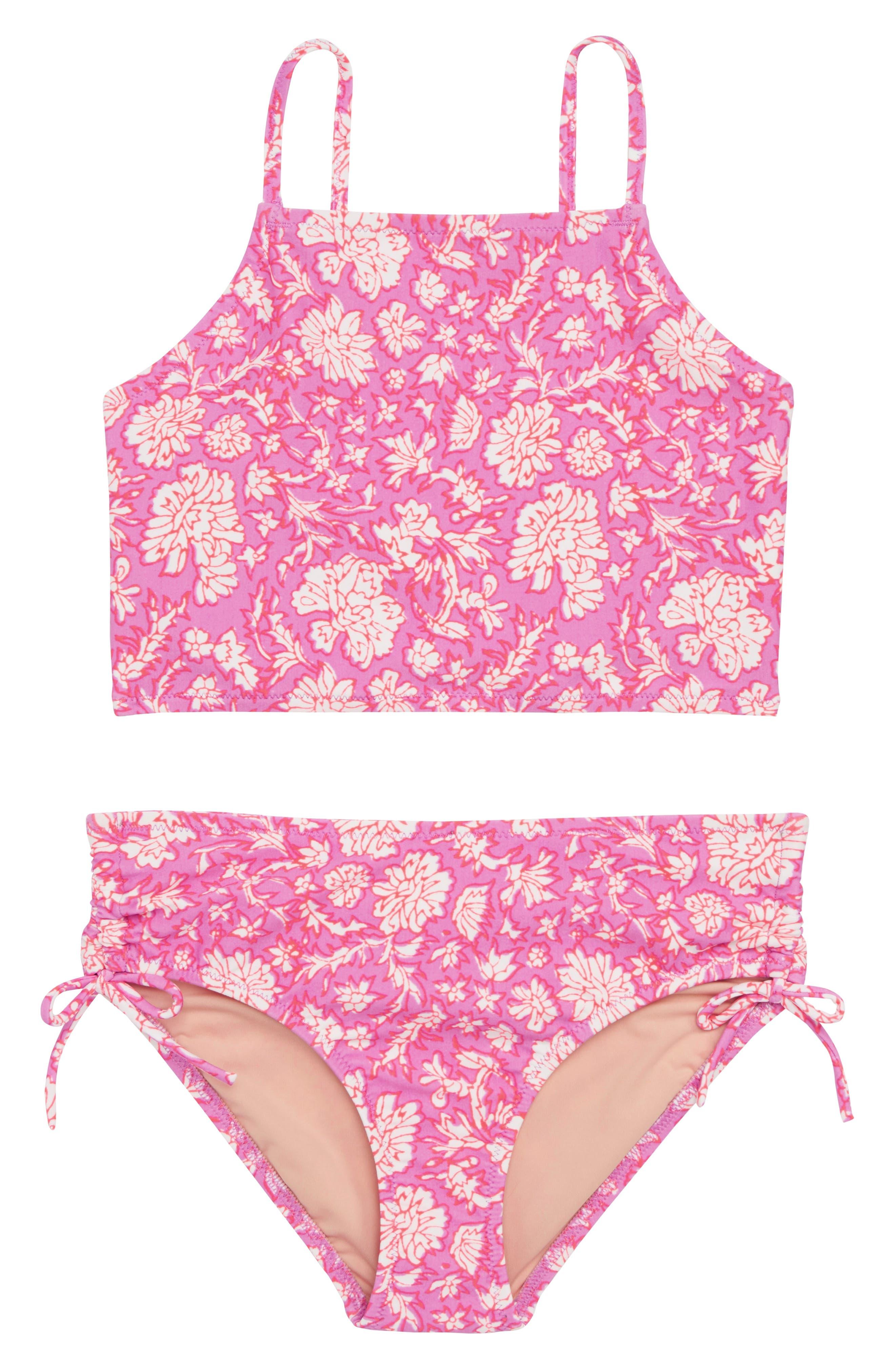 SZ Blockprints<sup>™</sup> Two-Piece Tankini Swimsuit,                             Main thumbnail 1, color,                             Ivory Lavender Multi