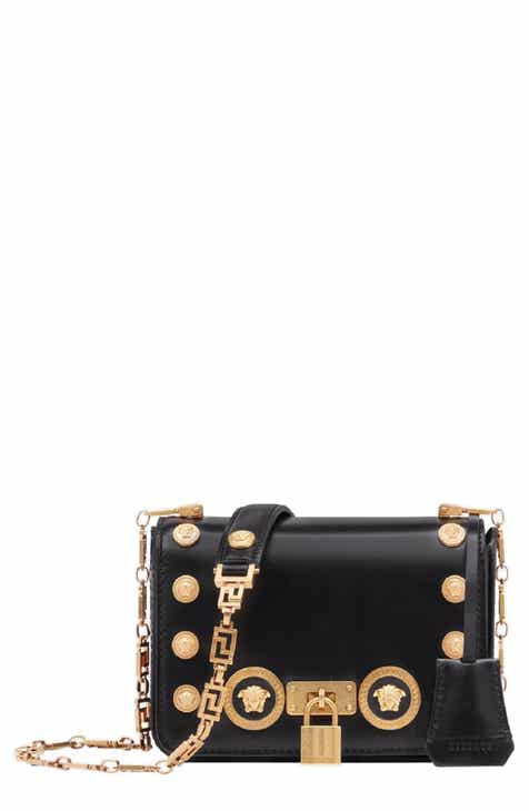 41a9deea5c3c Versace Icon Studded Leather Crossbody Bag