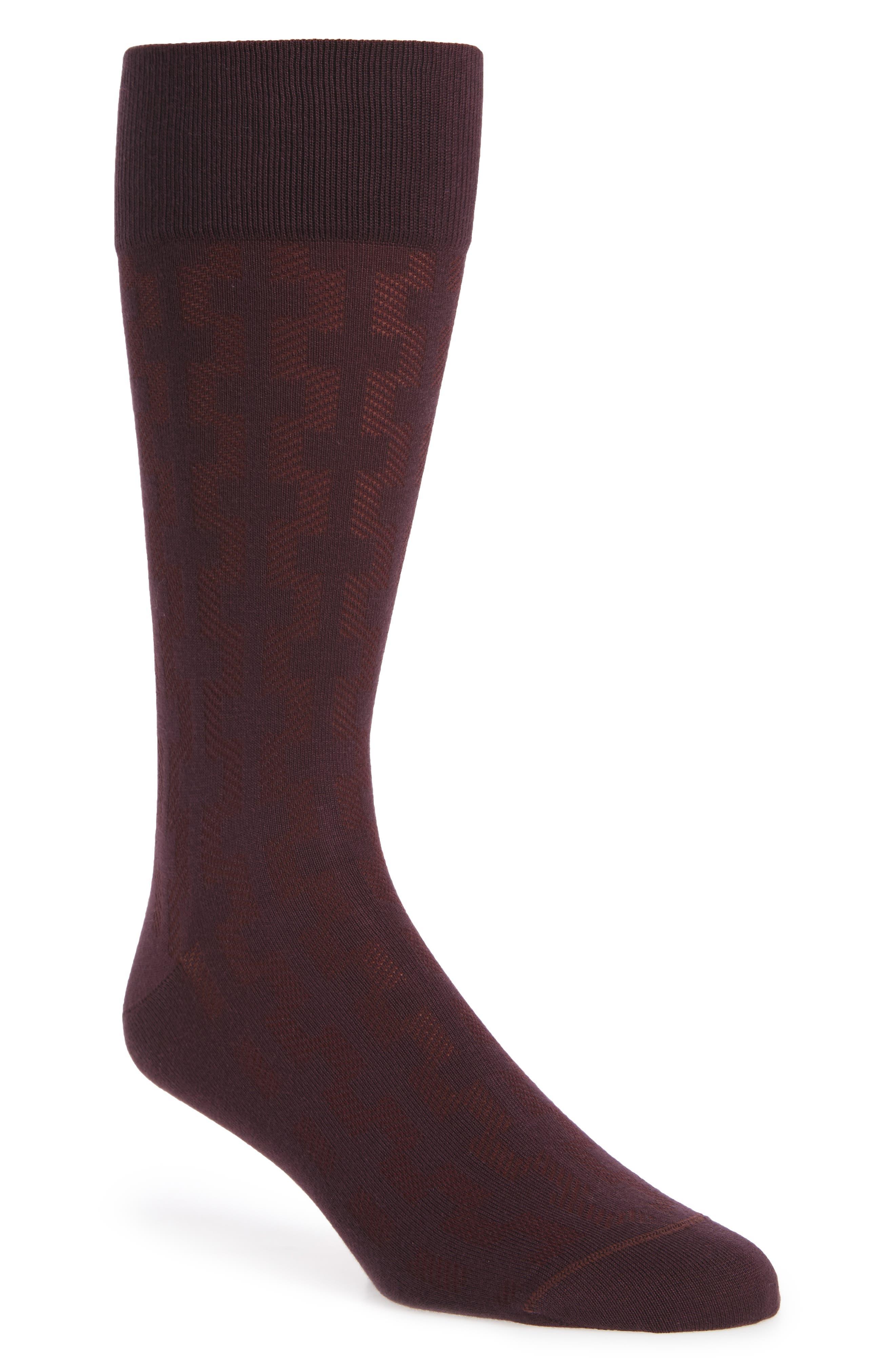 Geometric Socks,                         Main,                         color, Burgundy Fig