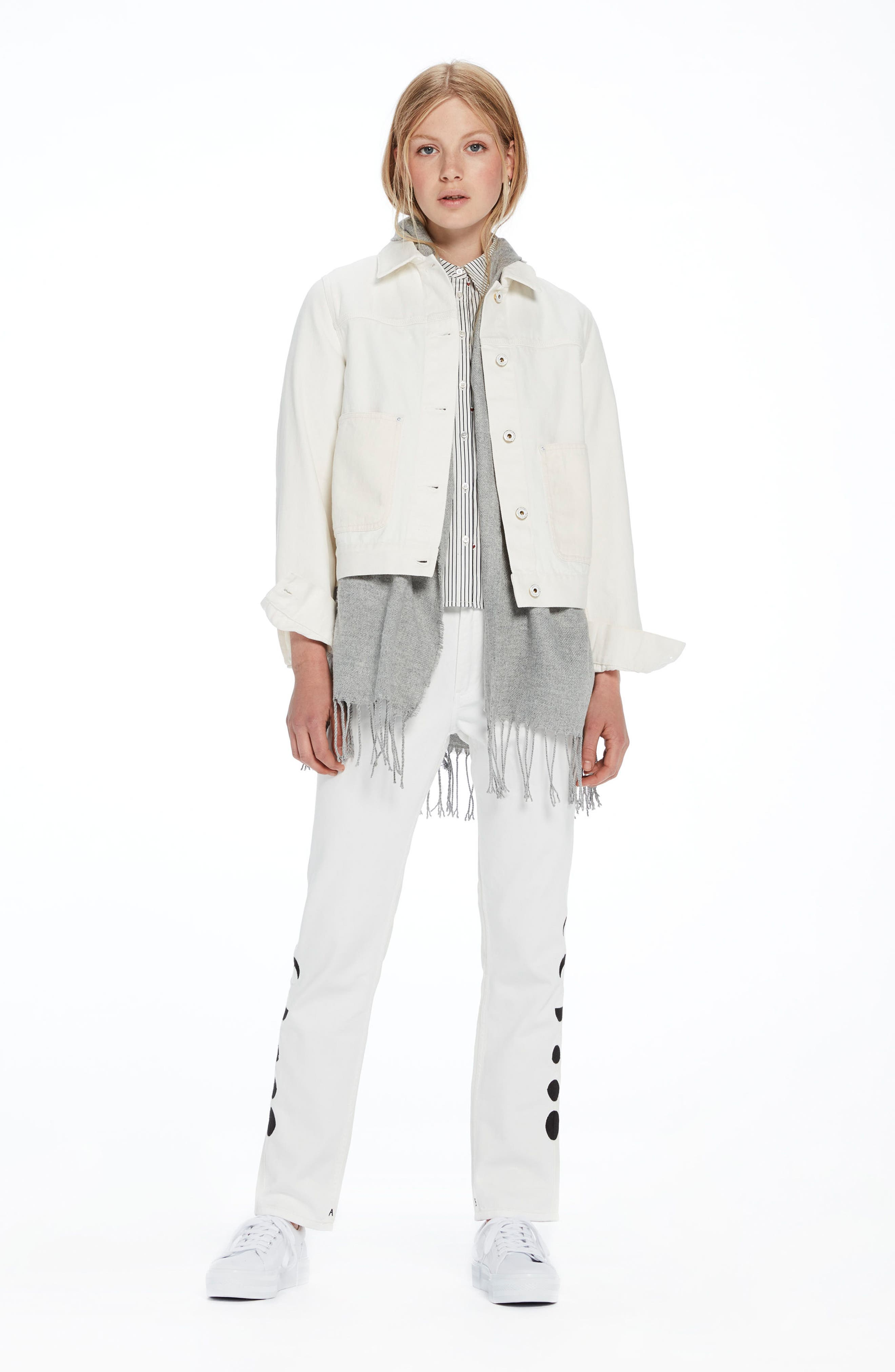 Moon Embroidered Denim Jacket with Scarf,                             Alternate thumbnail 6, color,                             03 Off White