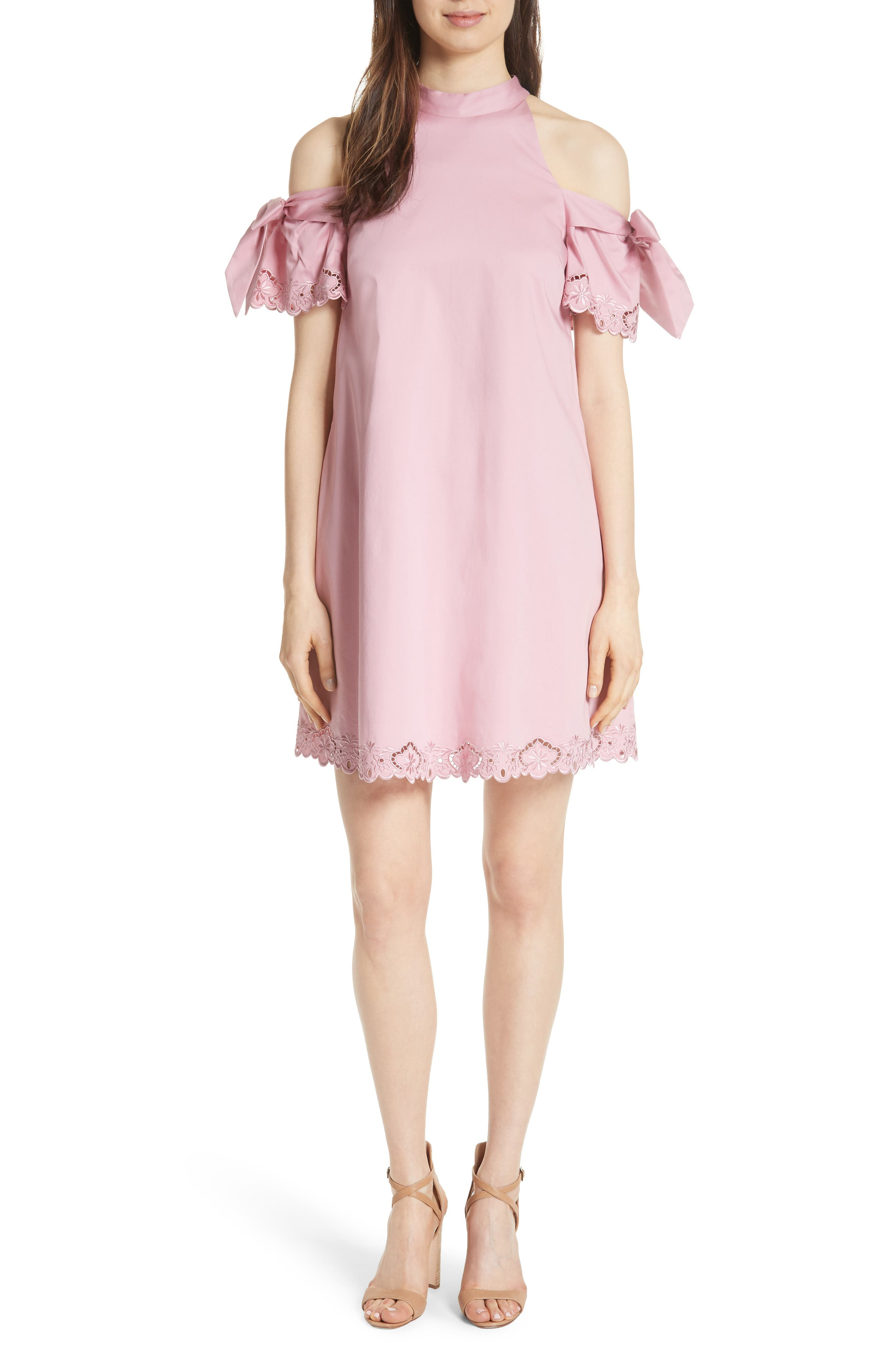 Semarra Embroidered Cold Shoulder Dress,                             Main thumbnail 1, color,                             Dusky Pink