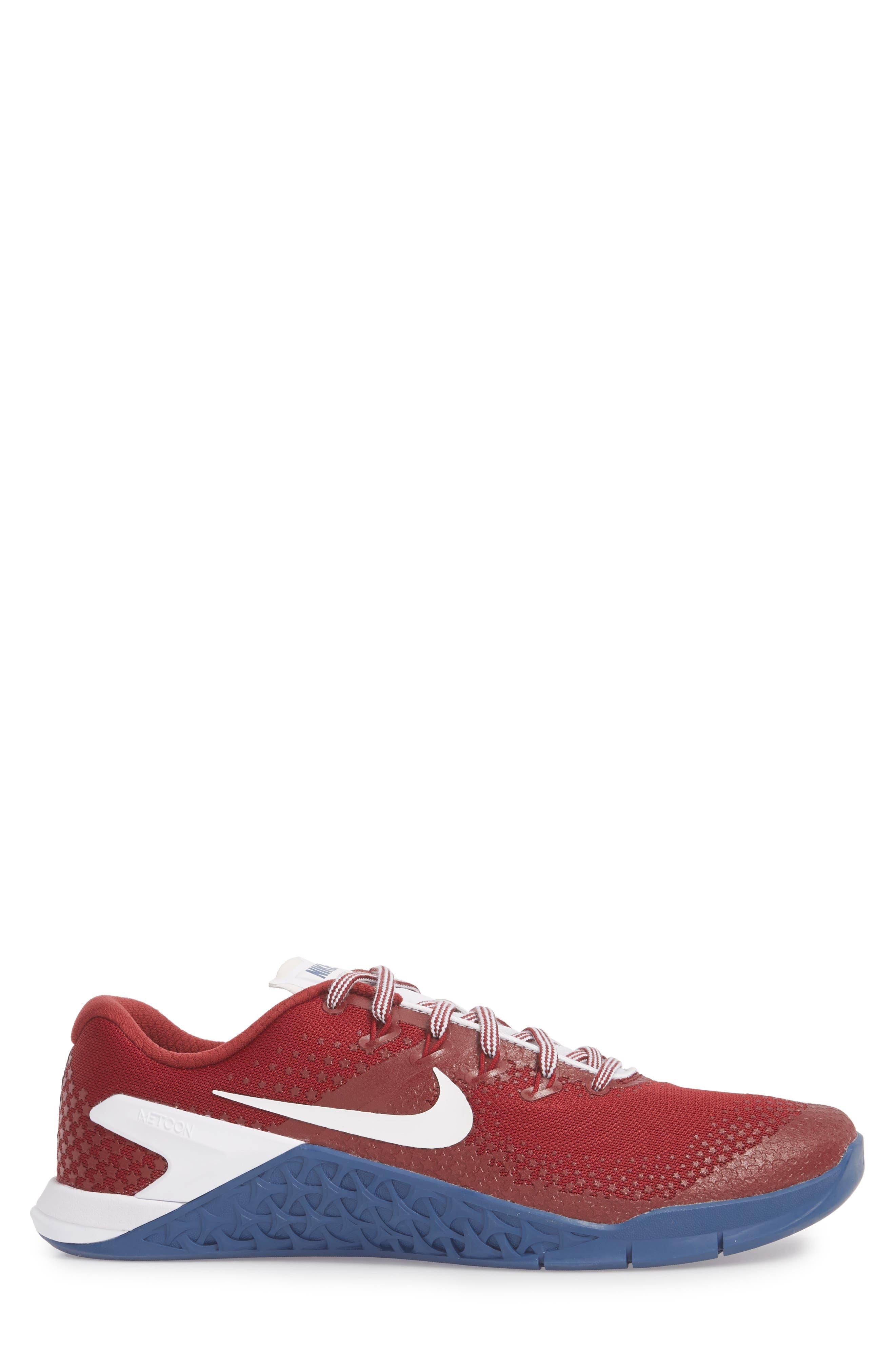 Metcon 4 Americana Training Shoe,                             Alternate thumbnail 3, color,                             Team Red/ White/ Gym Blue