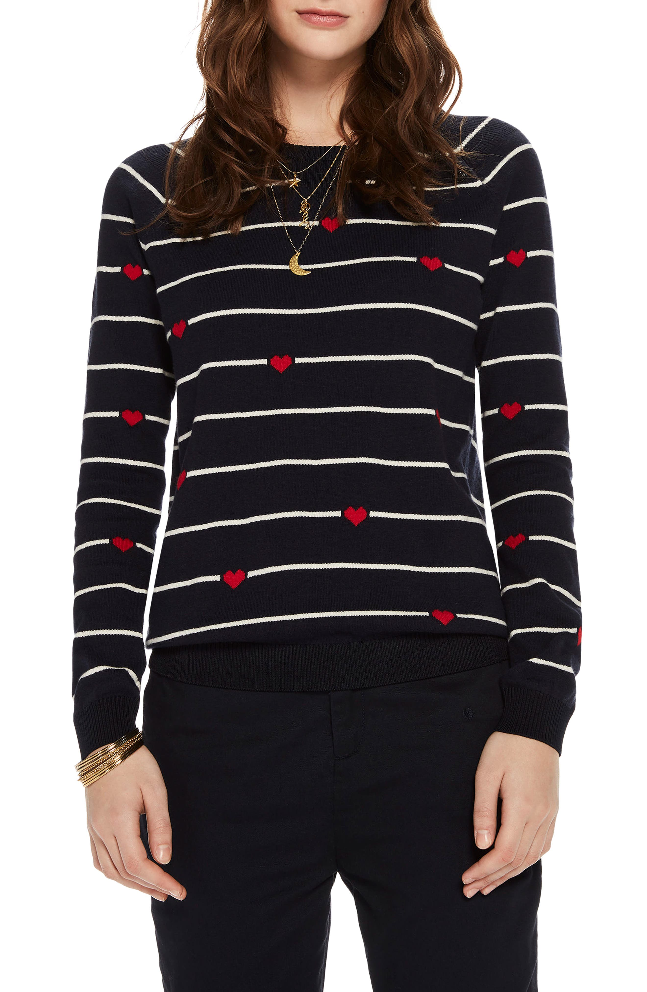 Button Detail Heart Stripe Sweater,                             Main thumbnail 1, color,                             18 Combo B