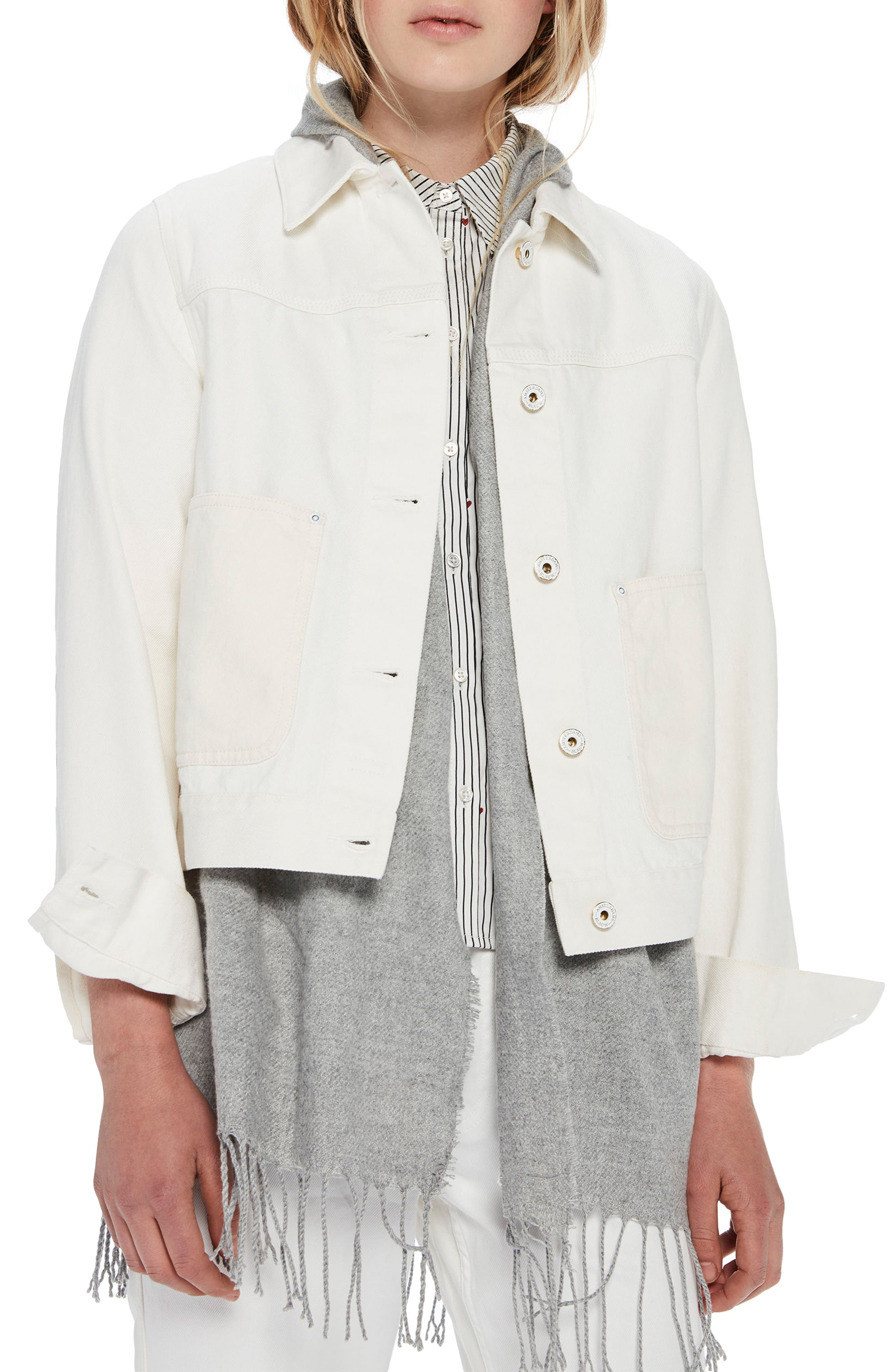 Moon Embroidered Denim Jacket with Scarf,                         Main,                         color, 03 Off White