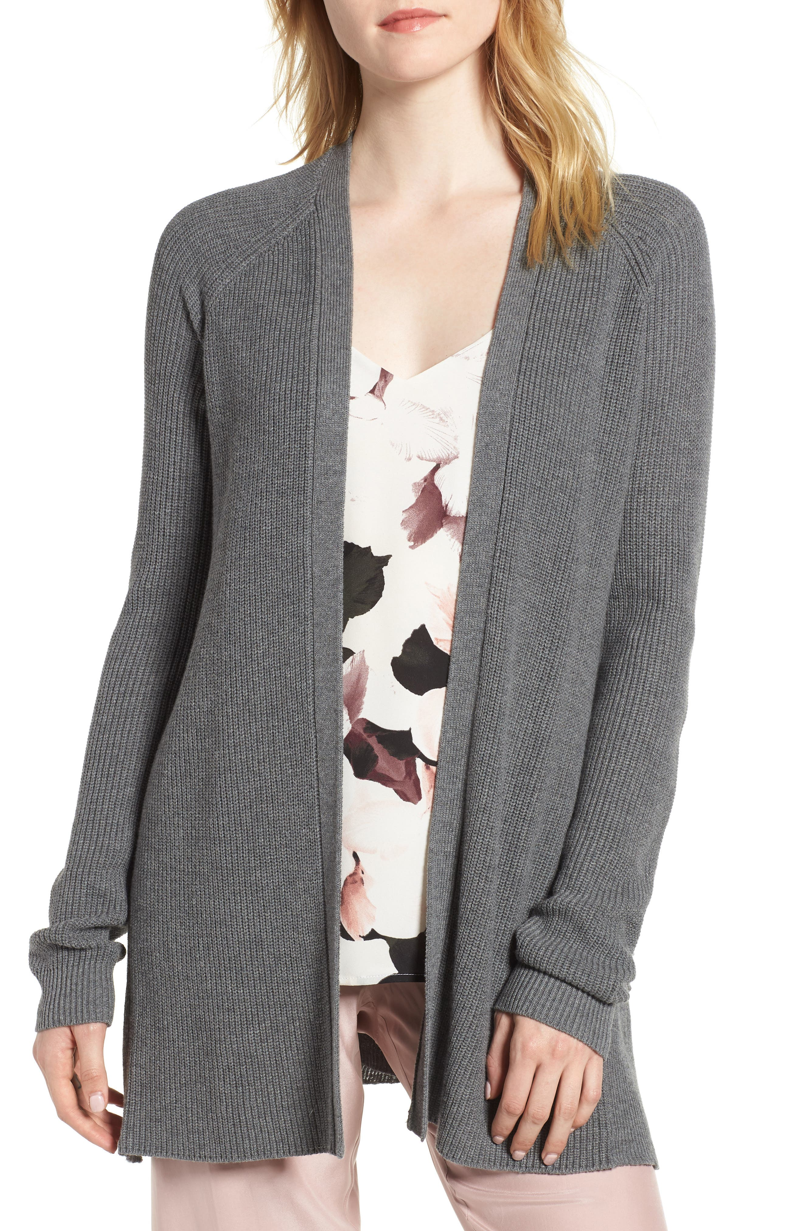 Ruffle Cardigan,                             Main thumbnail 1, color,                             Grey Dark Heather