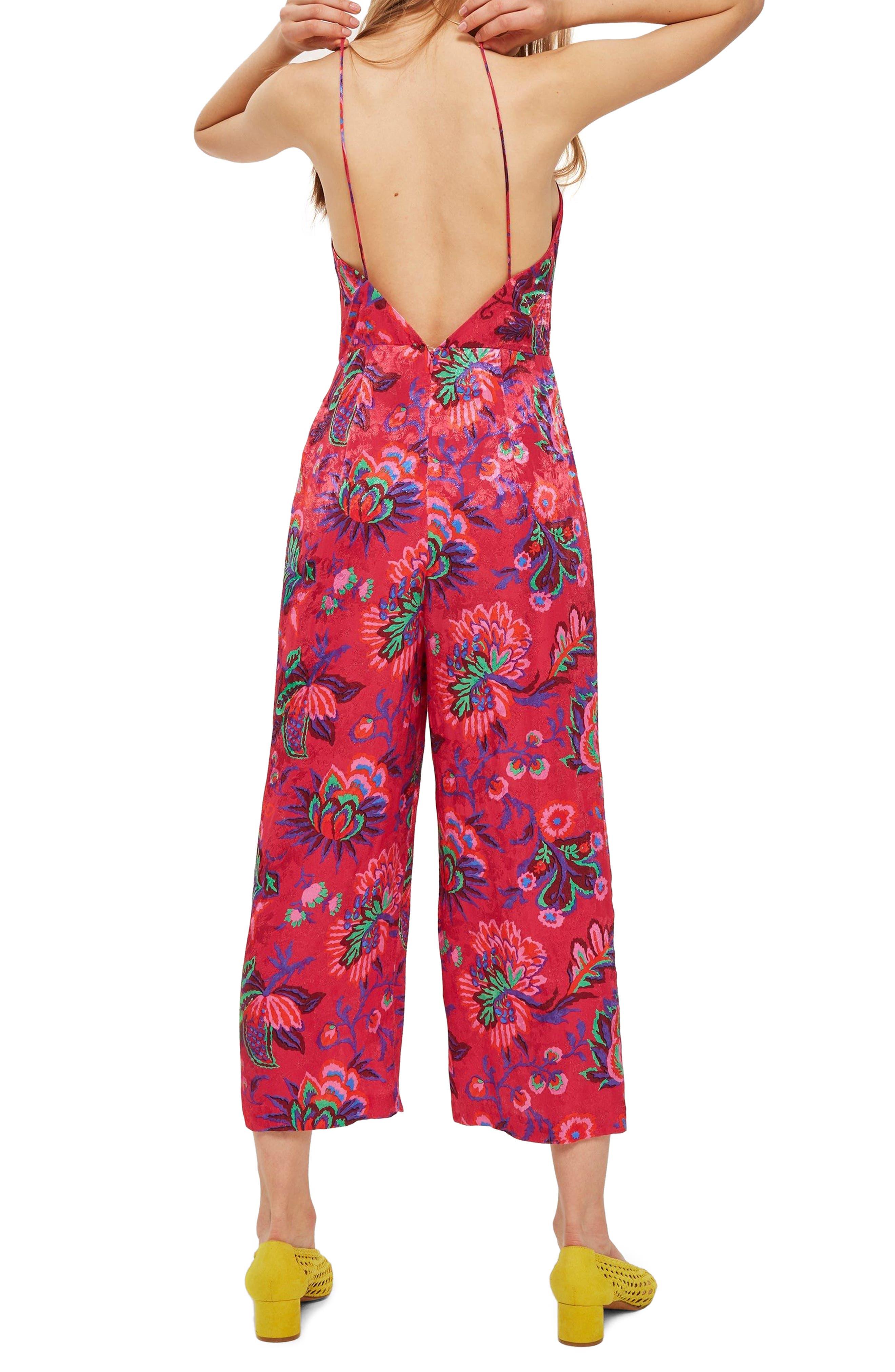 Sleeveless Floral Jumpsuit,                             Alternate thumbnail 3, color,                             Pink Multi