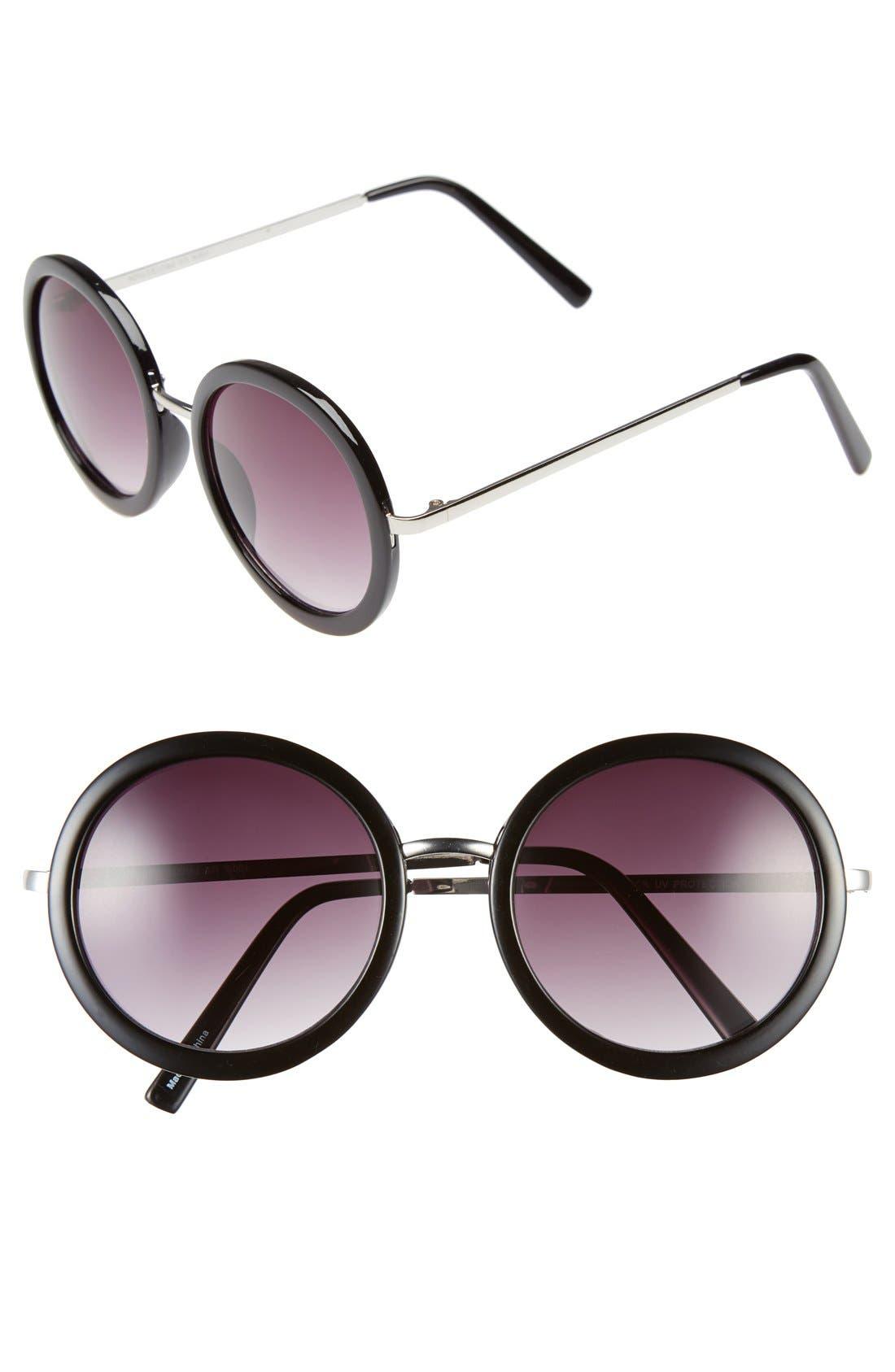 54mm Round Sunglasses,                         Main,                         color, Black