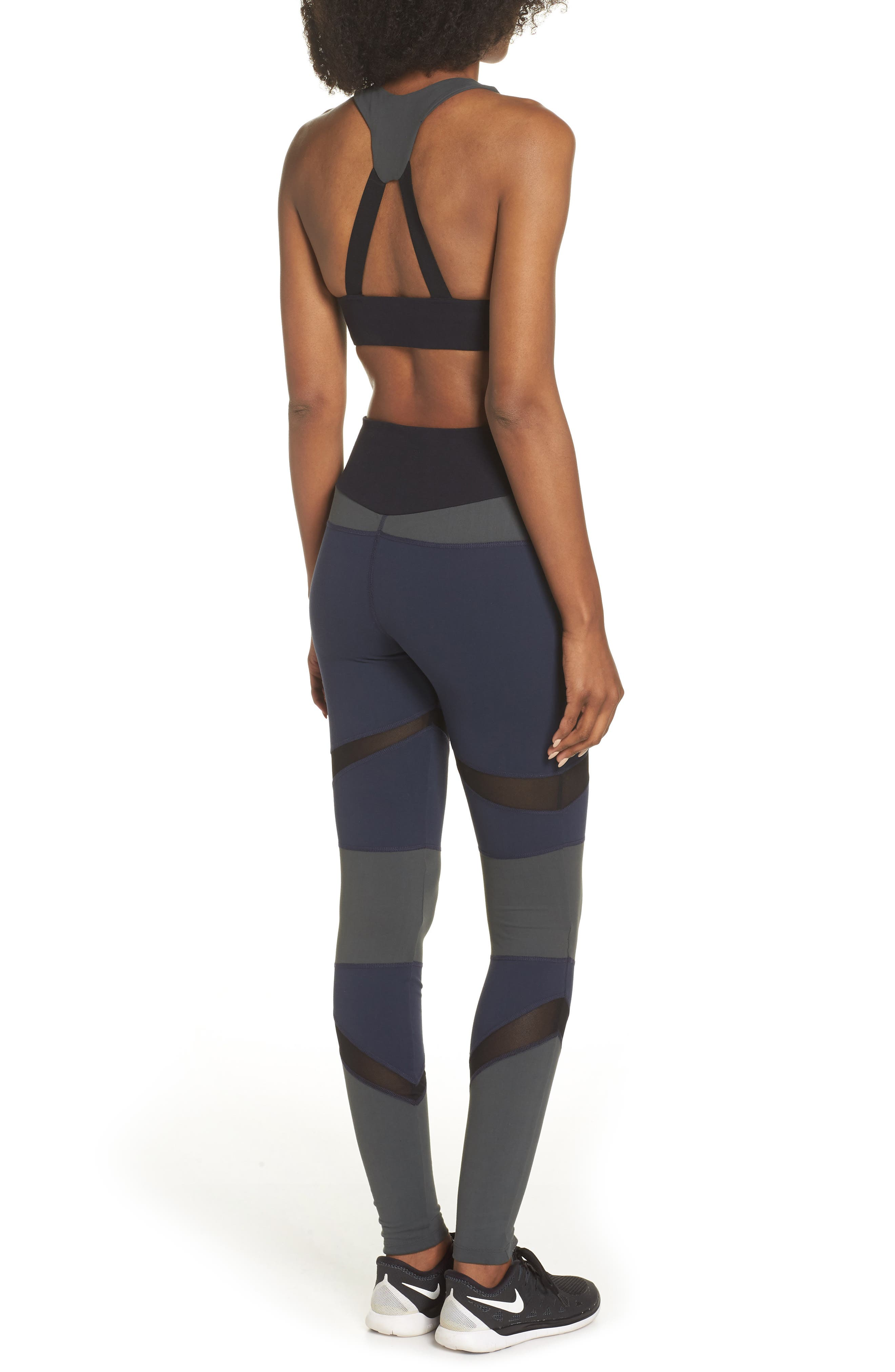 BoomBoom Athletica Brushed Tricolor Bra,                             Alternate thumbnail 9, color,                             Navy/ Black/ Green
