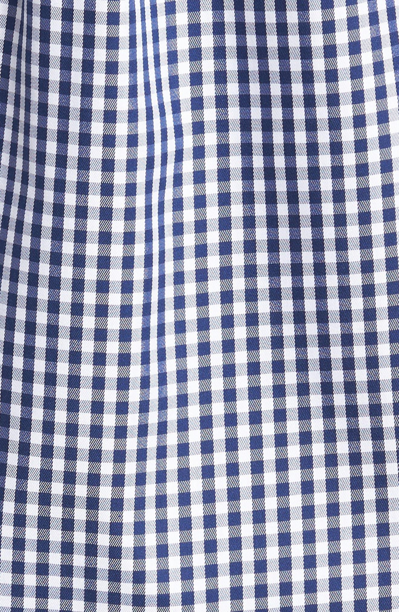 Crown Soft Gingham Sport Shirt,                             Alternate thumbnail 5, color,                             Yankee Blue