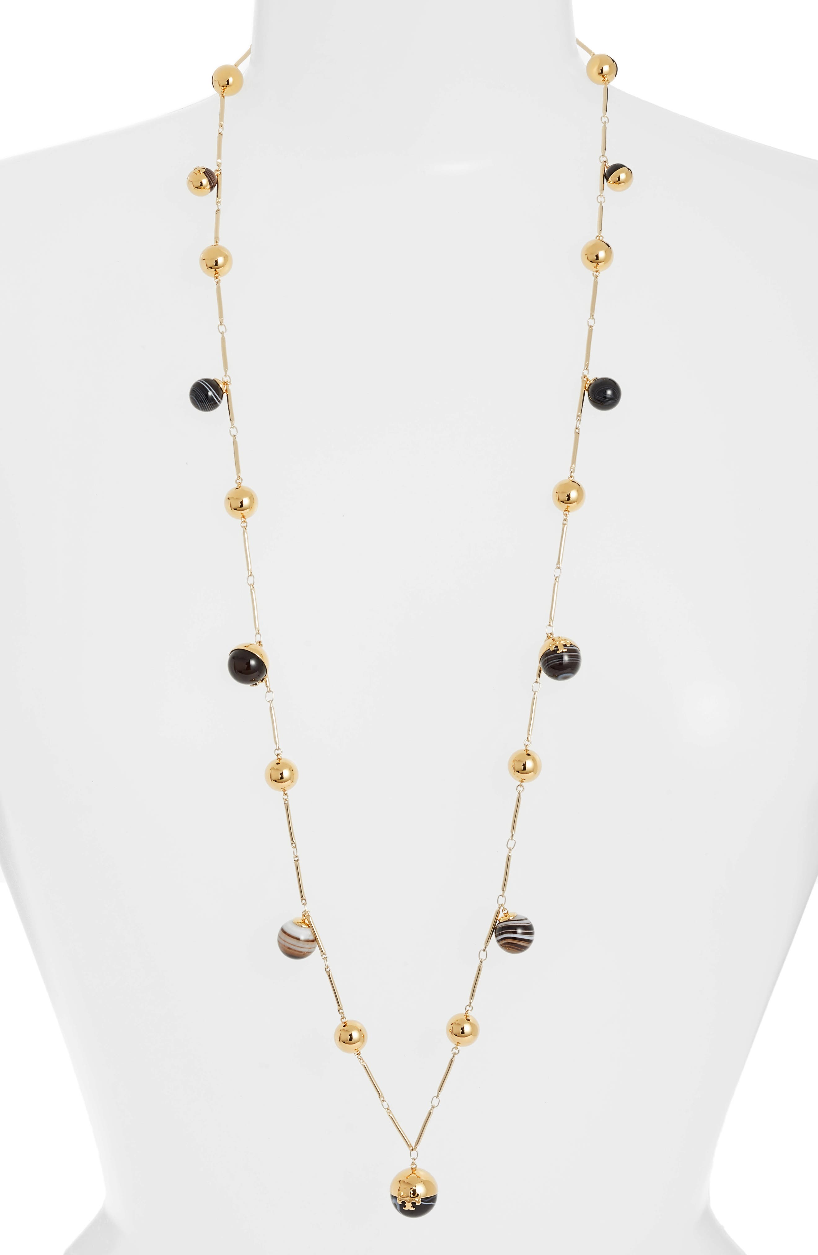 Logo Bead Rosary Necklace,                         Main,                         color, Agate/ Tory Gold