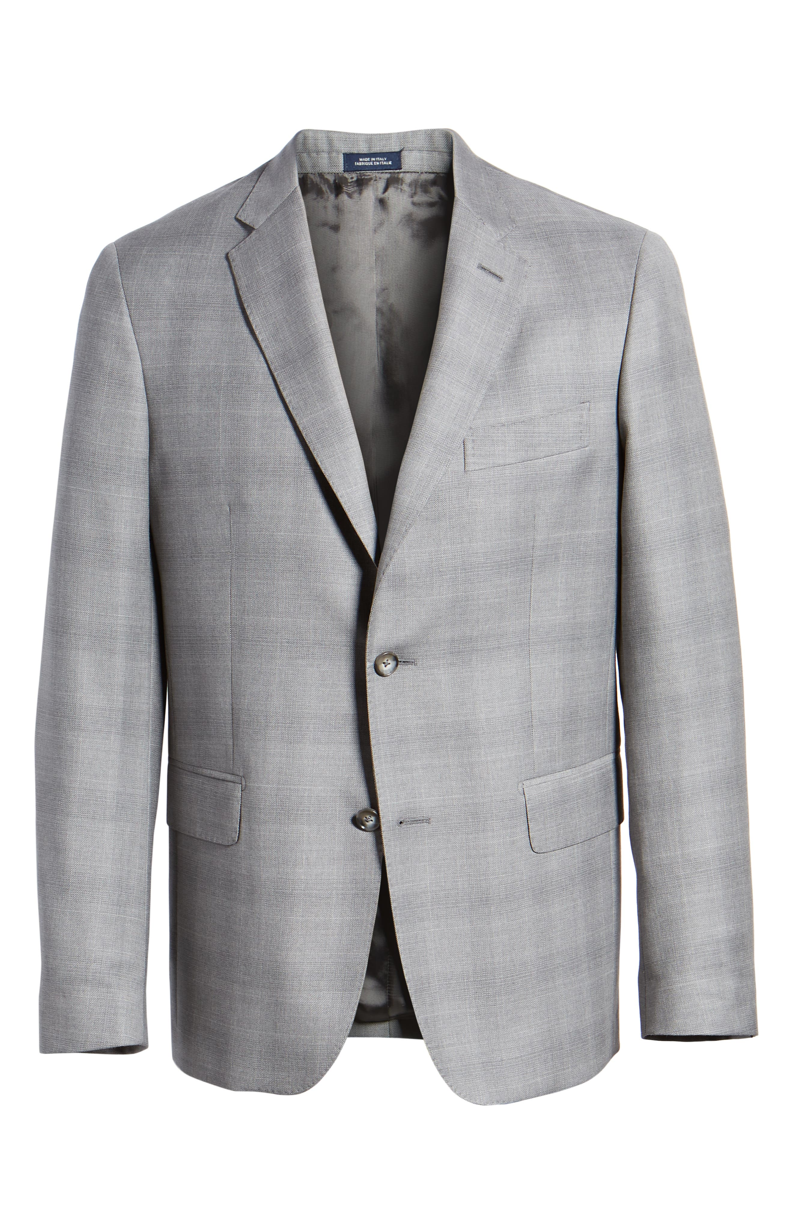 Traditional Fit Windowpane Wool Sport Coat,                             Alternate thumbnail 6, color,                             Grey