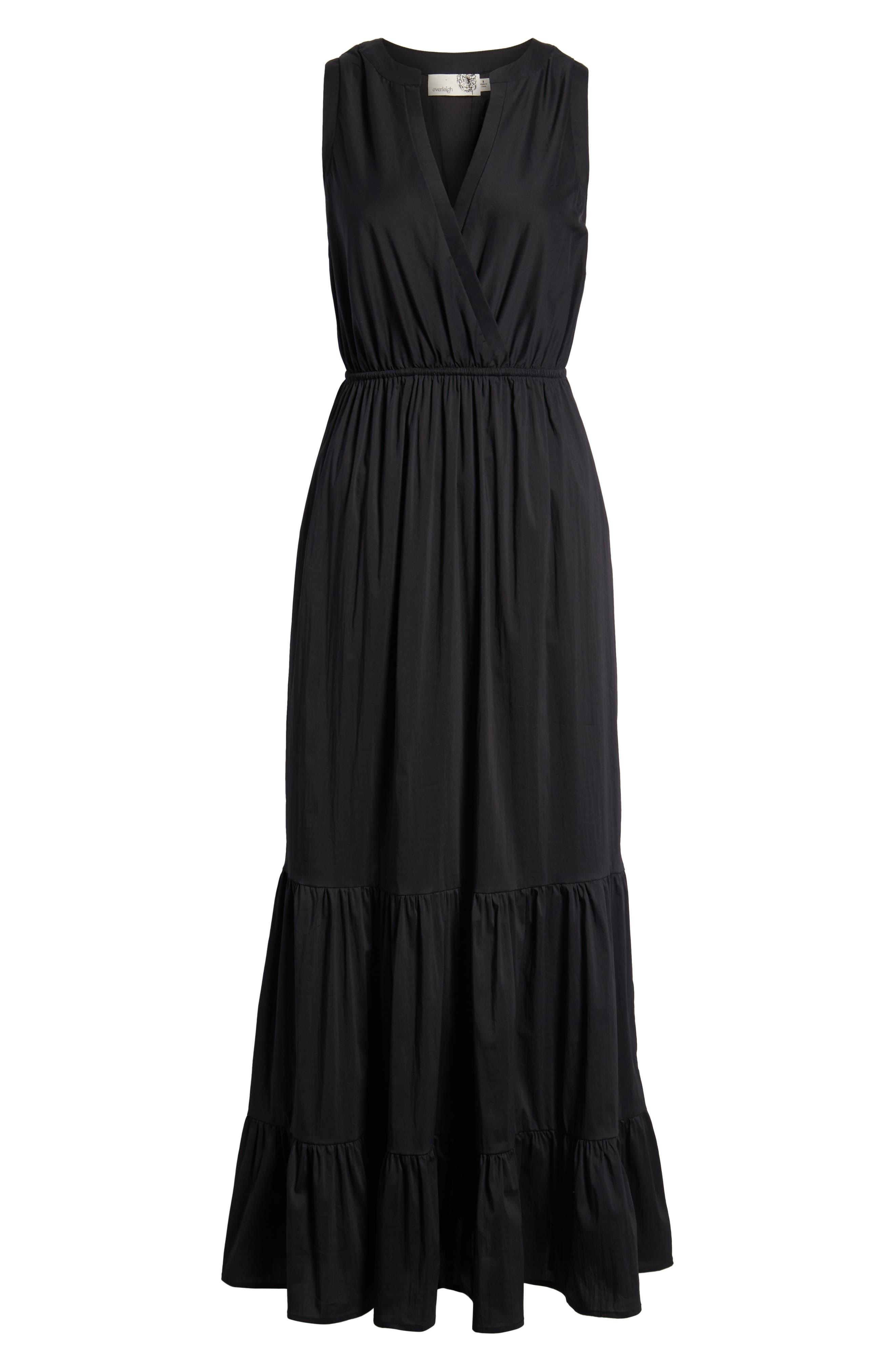 Tiered Maxi Dress,                             Alternate thumbnail 7, color,                             Black Solid Poplin