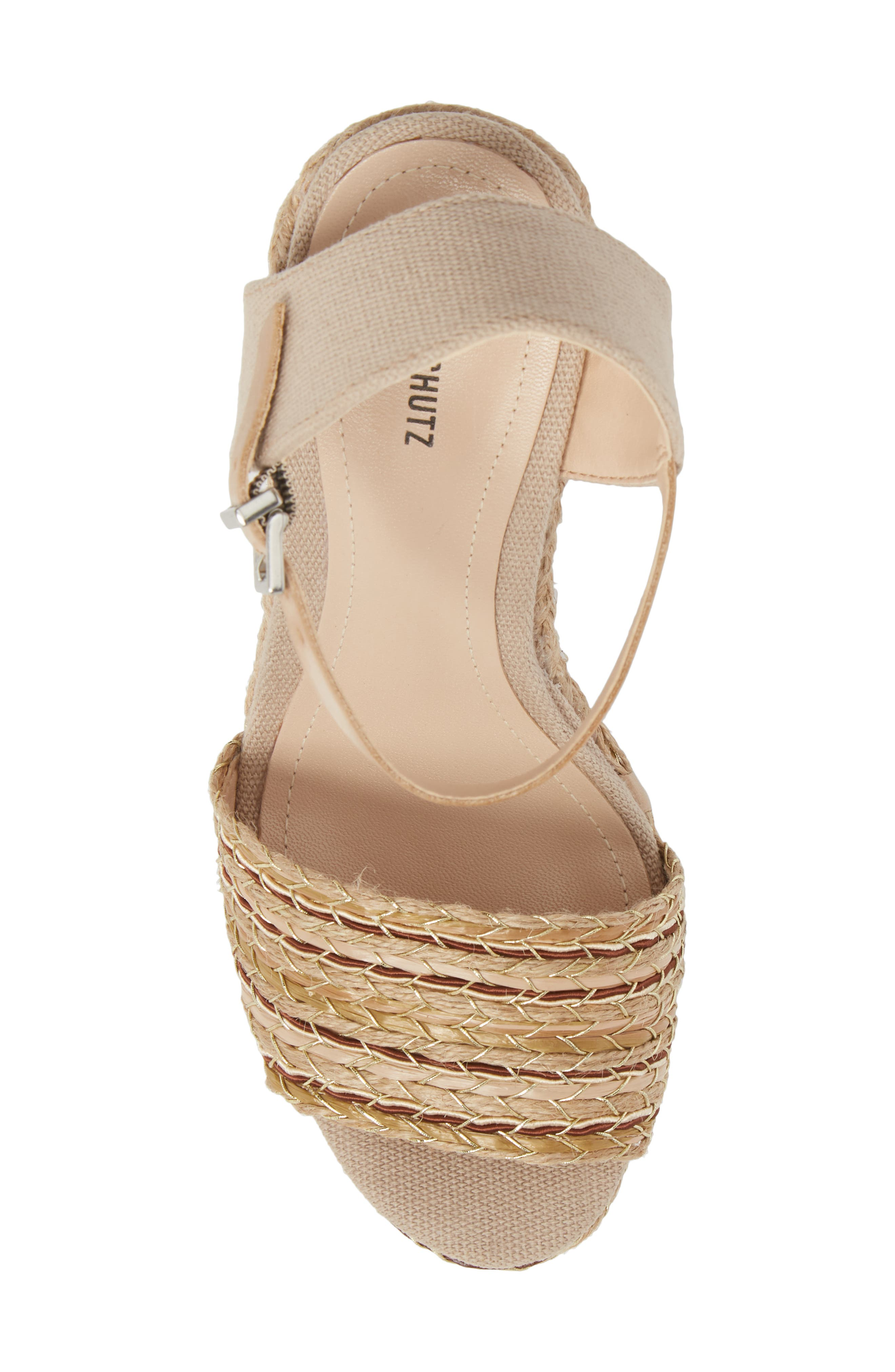 Rilark Platform Wedge Sandal,                             Alternate thumbnail 5, color,                             Coco Fabric