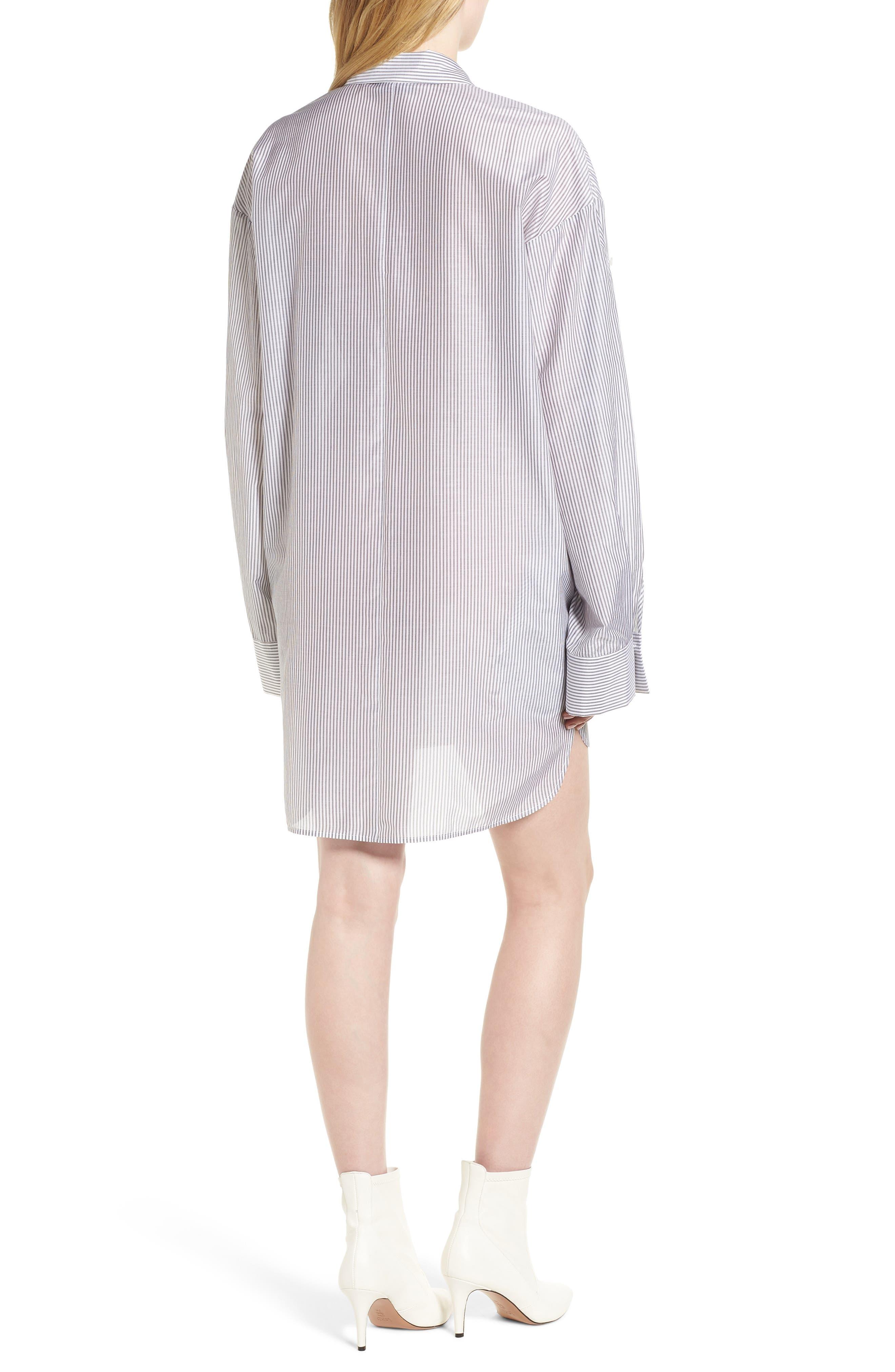 Stripe Cotton & Silk Shirtdress,                             Alternate thumbnail 2, color,                             White- Grey Even Stripe