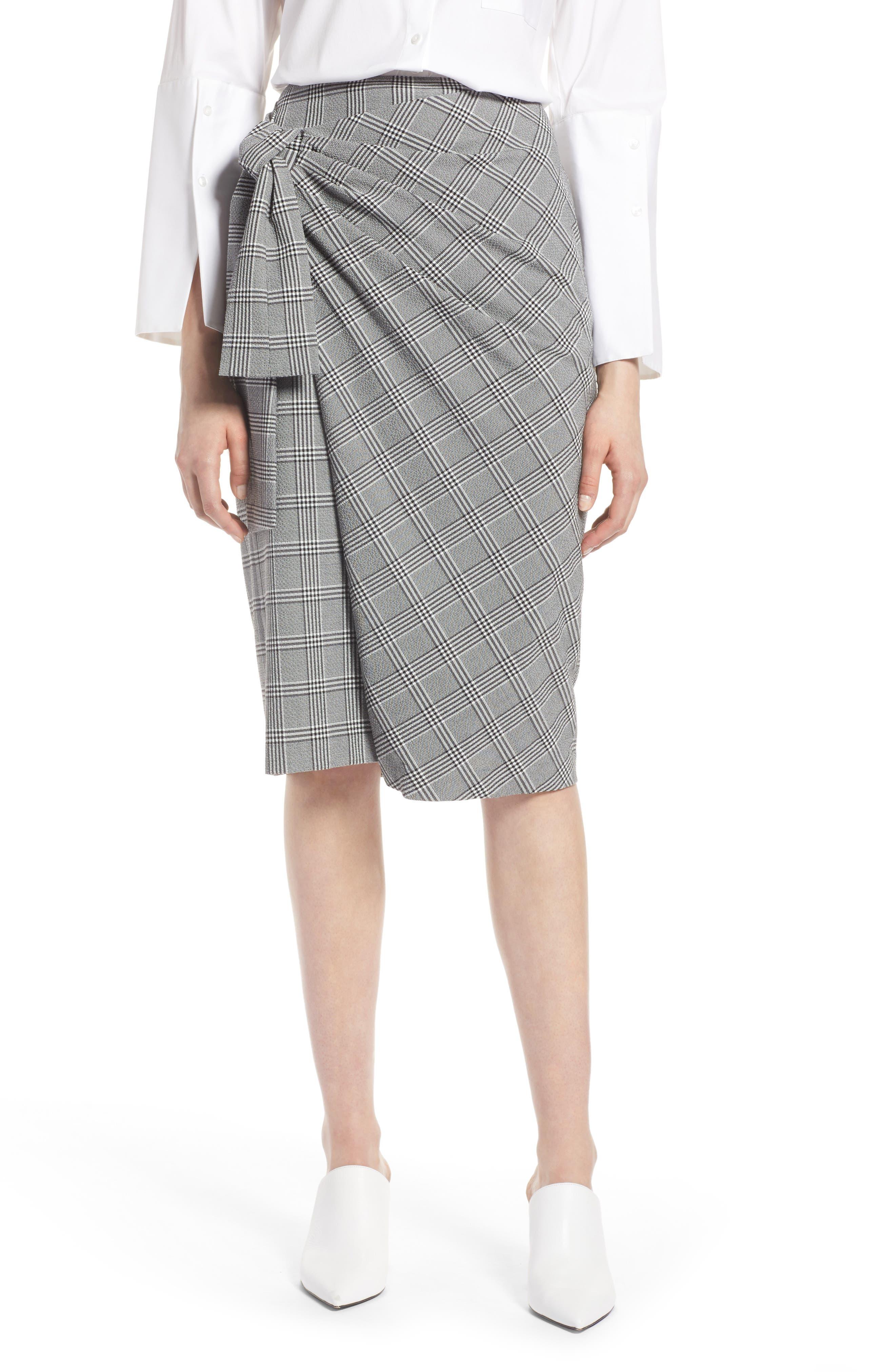 Halogen® Side Tie Plaid Pencil Skirt (Regular & Petite)