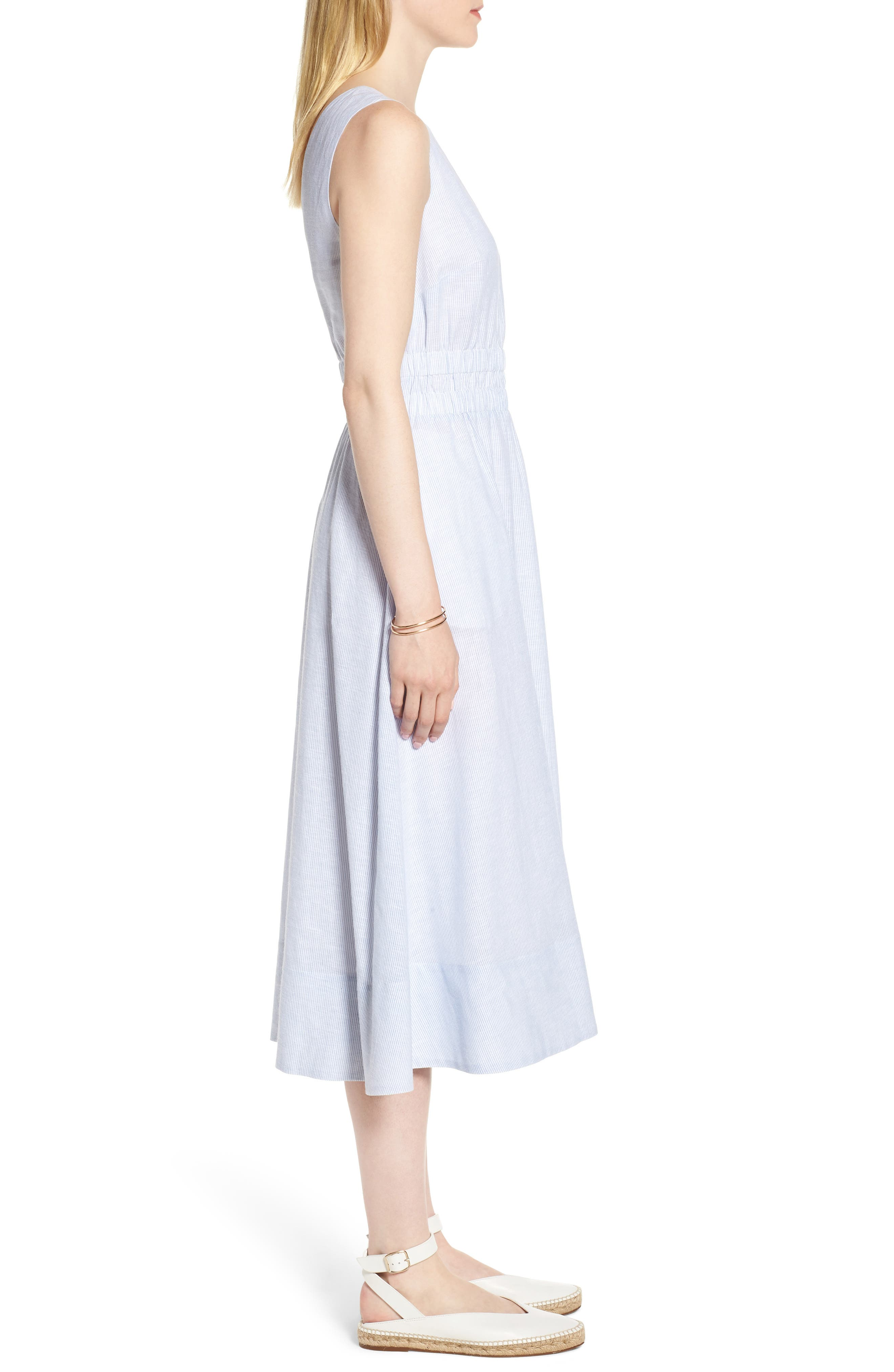 Smocked Waist Pinstripe Midi Dress,                             Alternate thumbnail 3, color,                             White- Blue Mini Stripe