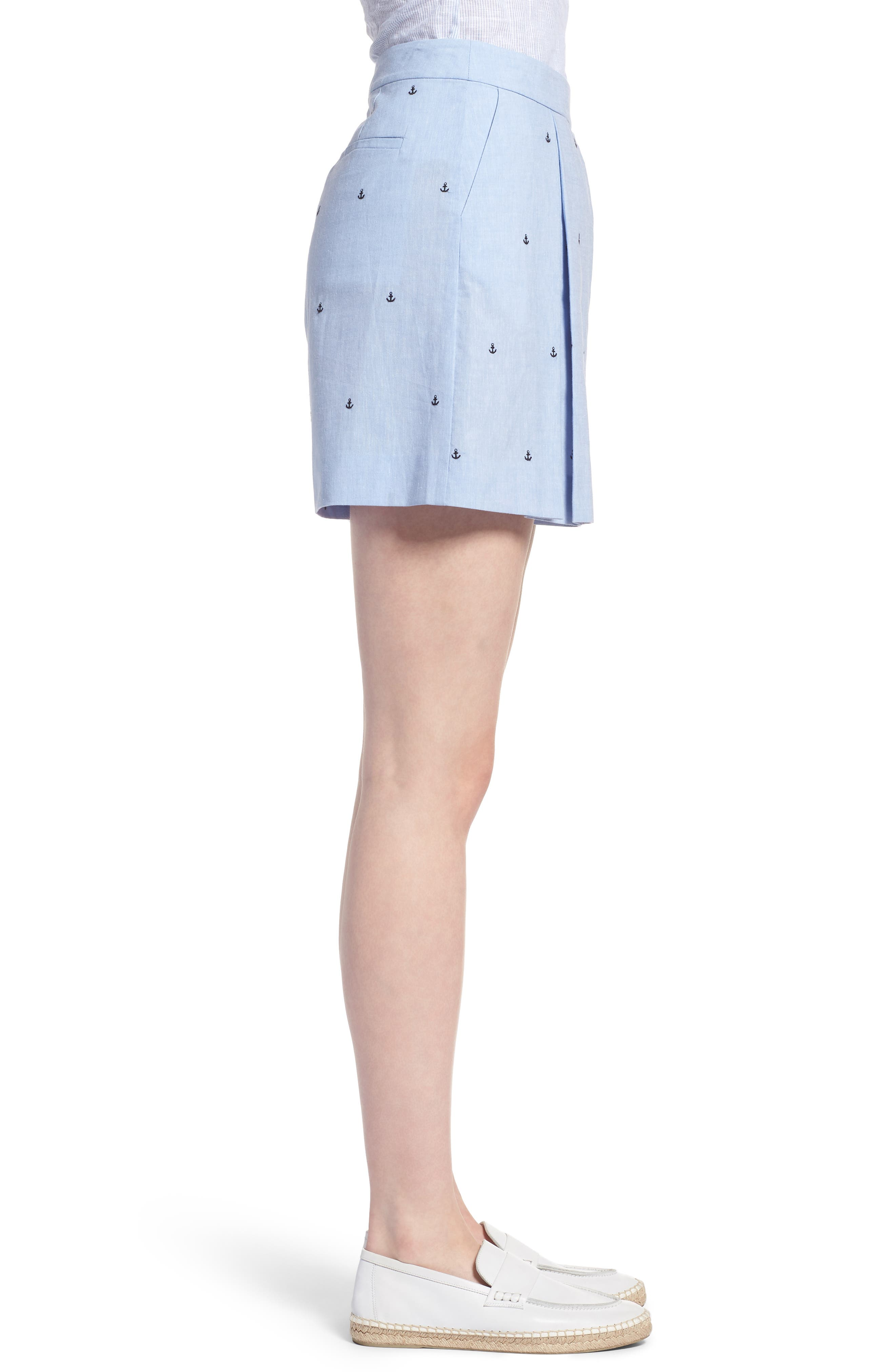 Anchor Embroidery Pleated Cotton Shorts,                             Alternate thumbnail 3, color,                             Chambray Anchor Print
