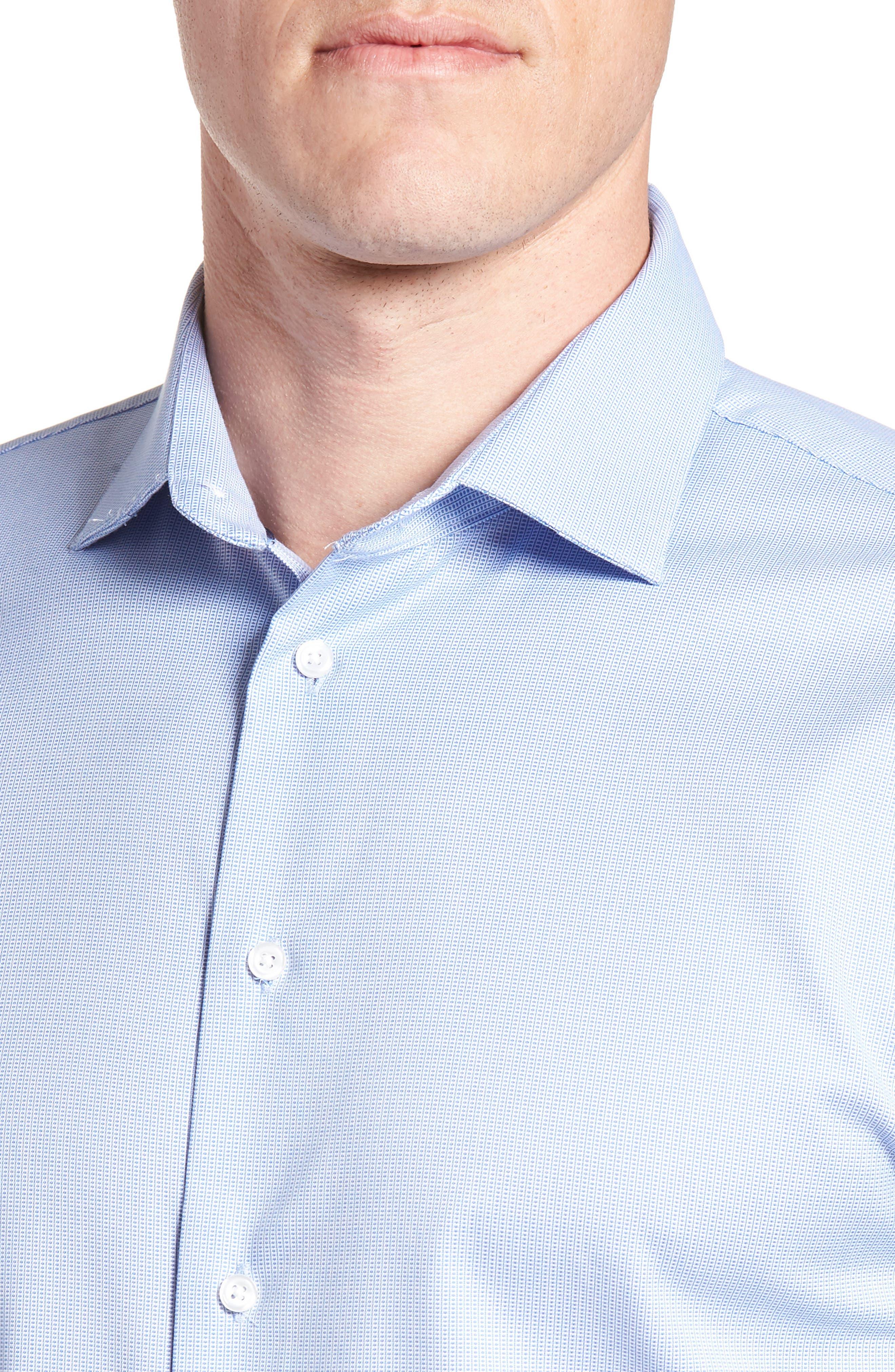 Trim Fit Non-Iron Stretch Dress Shirt,                             Alternate thumbnail 2, color,                             Blue Azurite