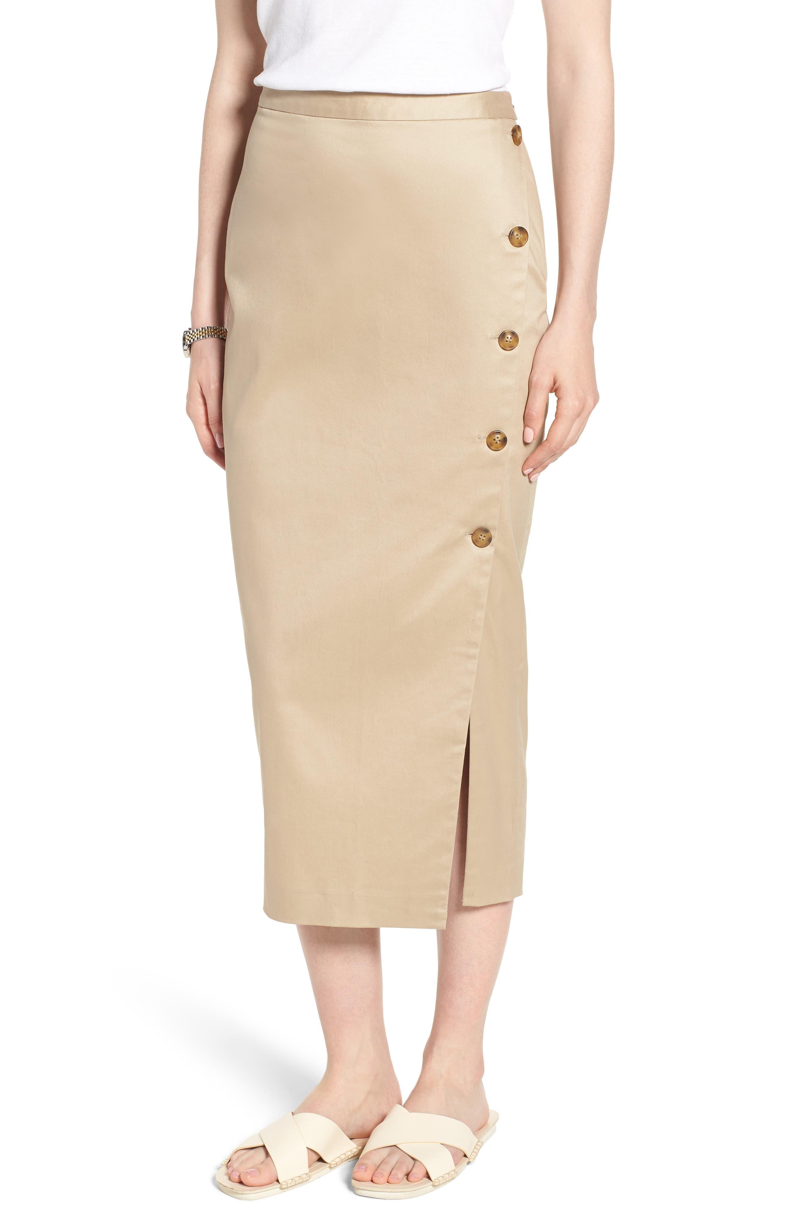 Side Slit Cotton Blend Pencil Skirt,                             Main thumbnail 1, color,                             Tan