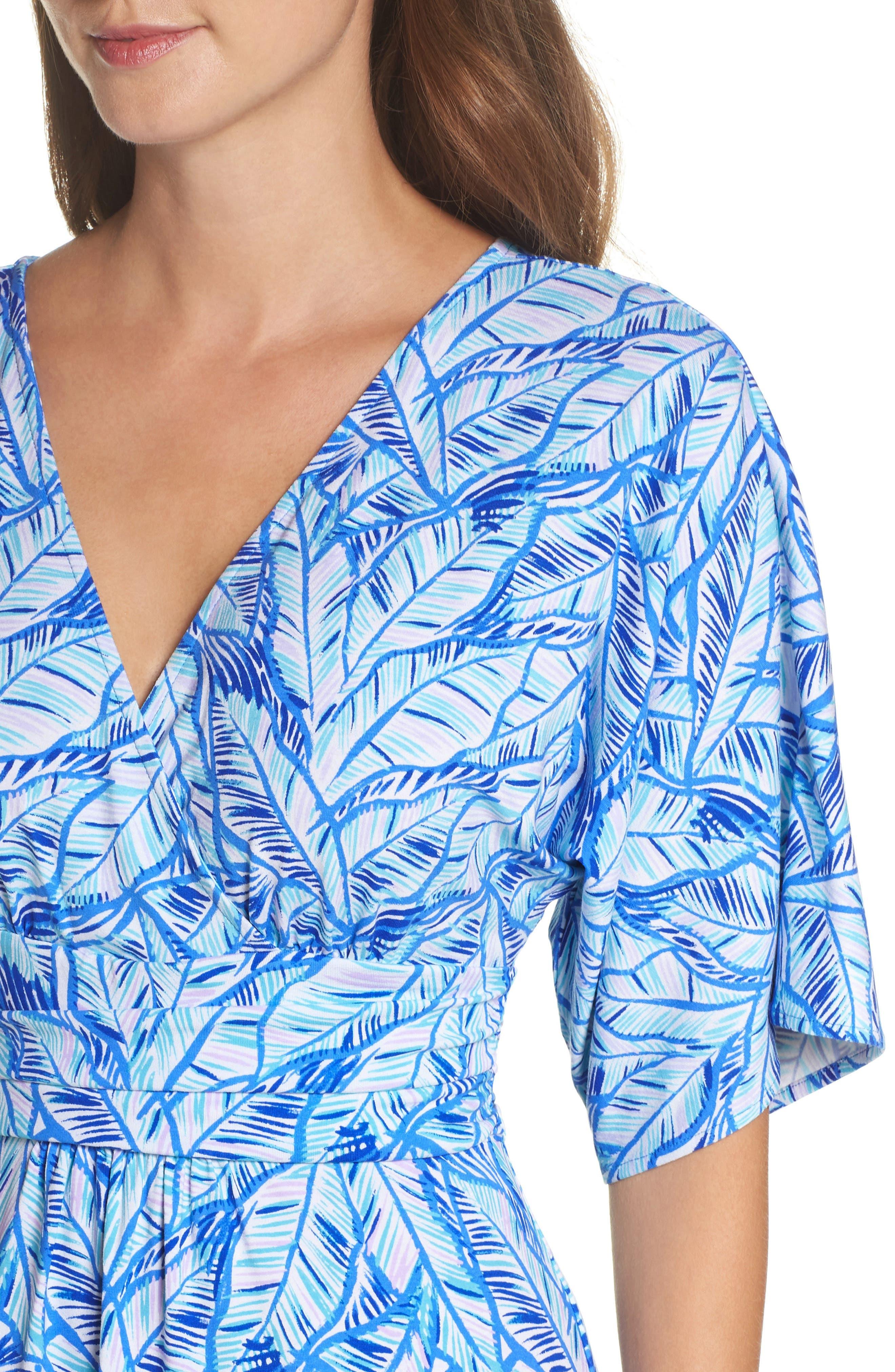 Parigi Print Dress,                             Alternate thumbnail 4, color,                             Bennet Blue Lets Mango