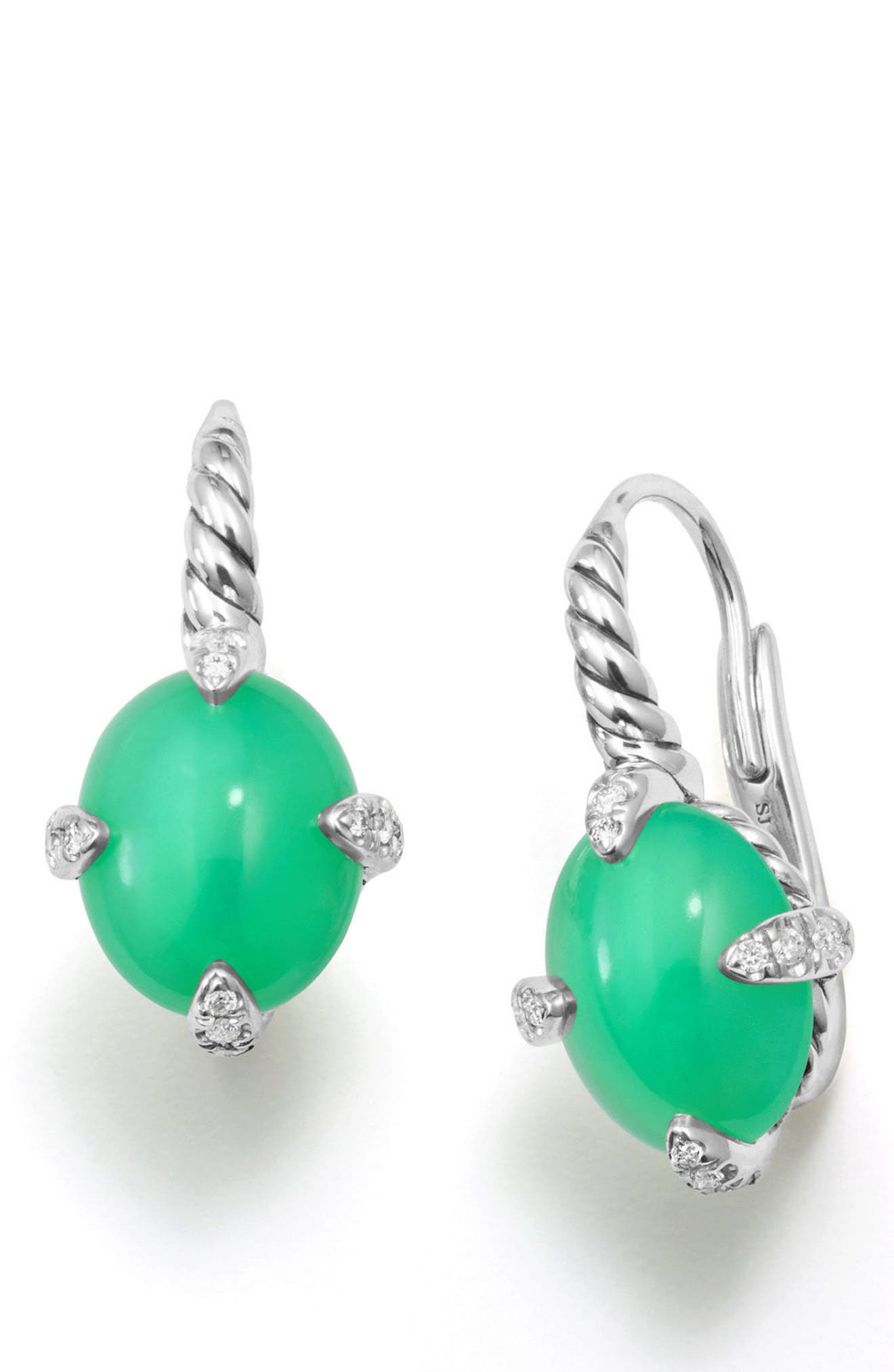 Chatelaine<sup>®</sup> Gemstone and Diamond Drop Earrings,                             Alternate thumbnail 2, color,                             Silver/ Diamond/ Chrysoprase