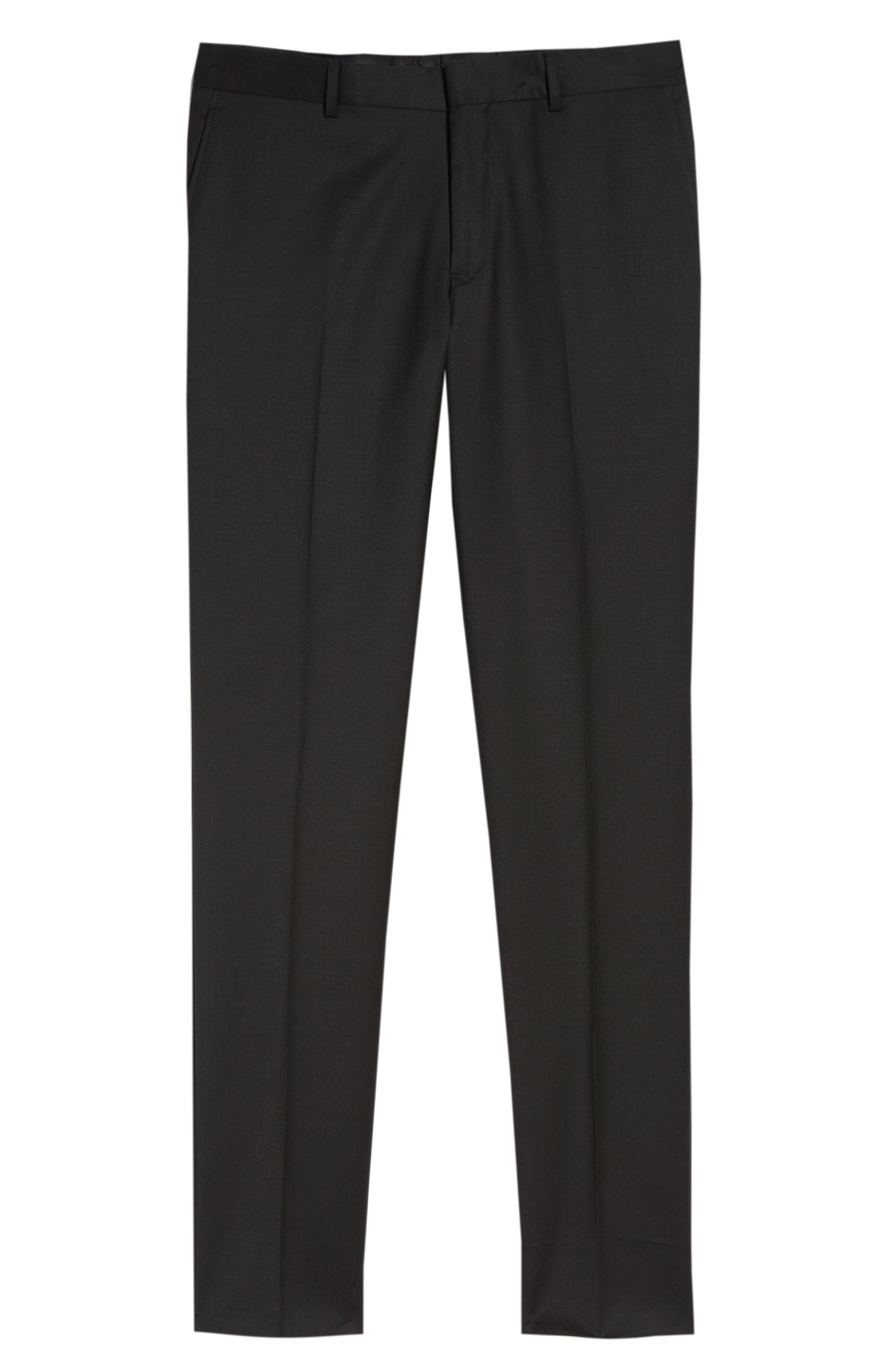 Flat Front Tech-Smart Extra Trim Trousers,                             Alternate thumbnail 3, color,                             Black