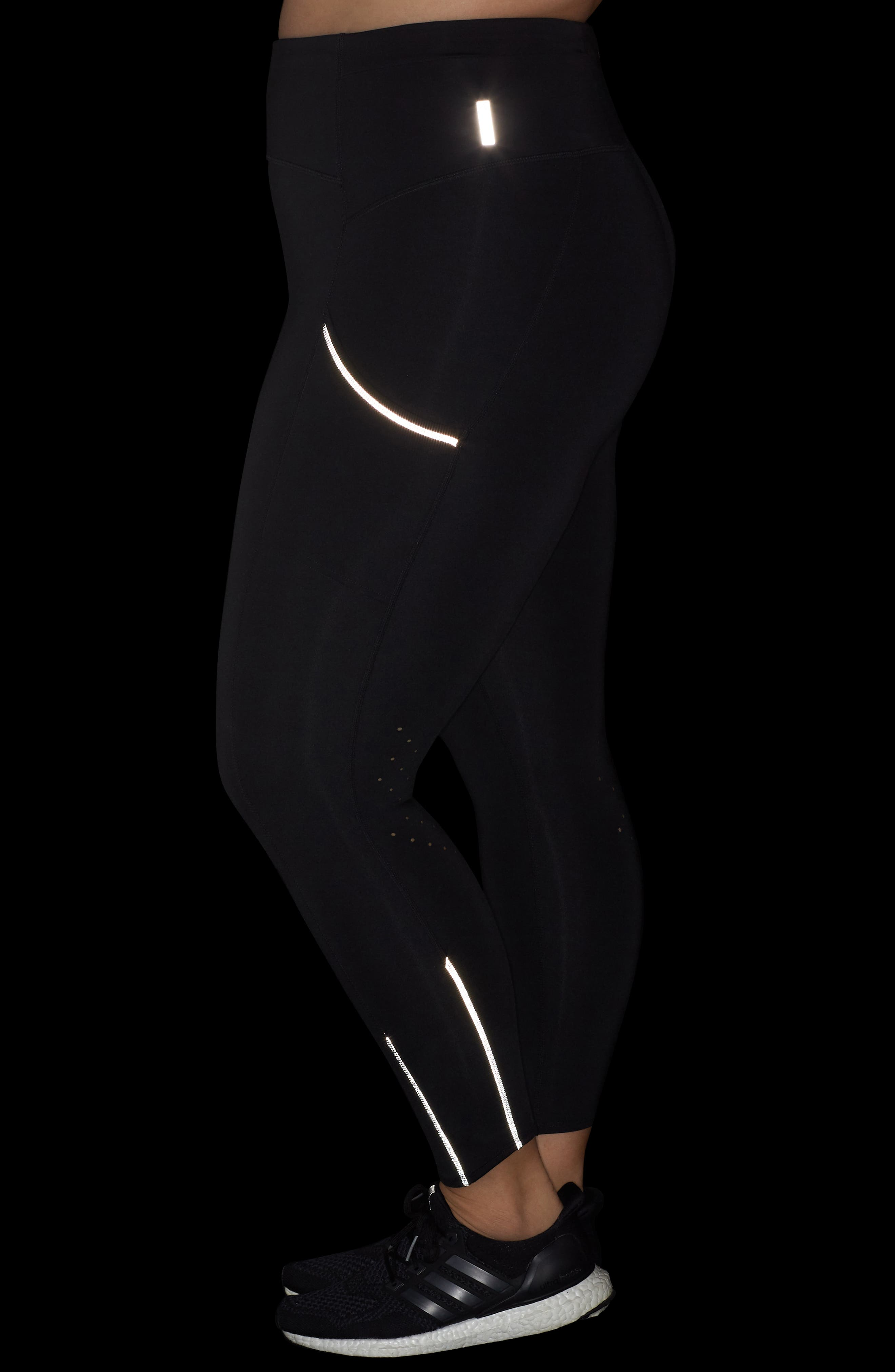Sprint In High Waist Midi Leggings,                             Alternate thumbnail 4, color,                             Black